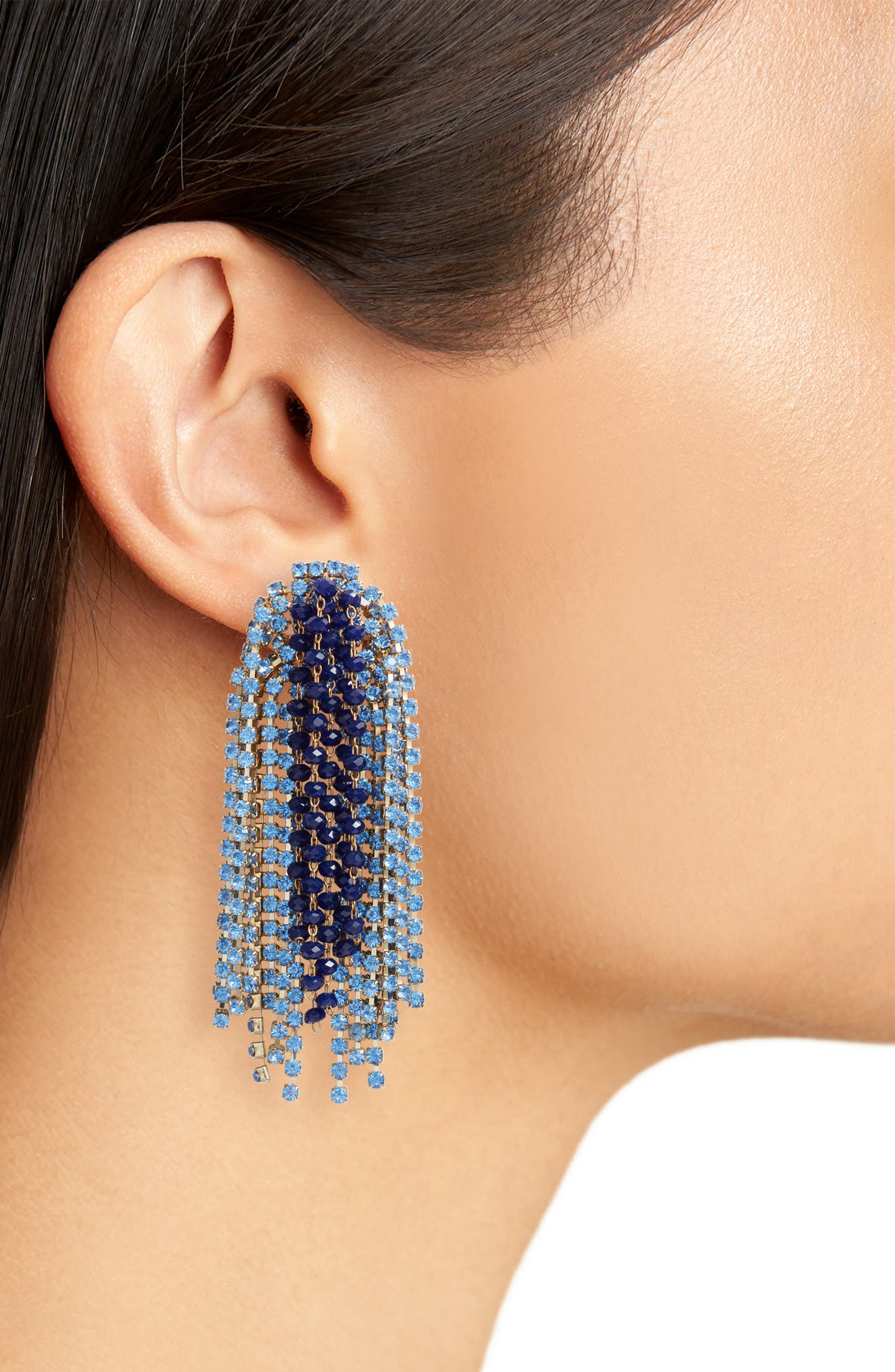 Crystal Statement Earrings,                             Alternate thumbnail 2, color,                             NAVY