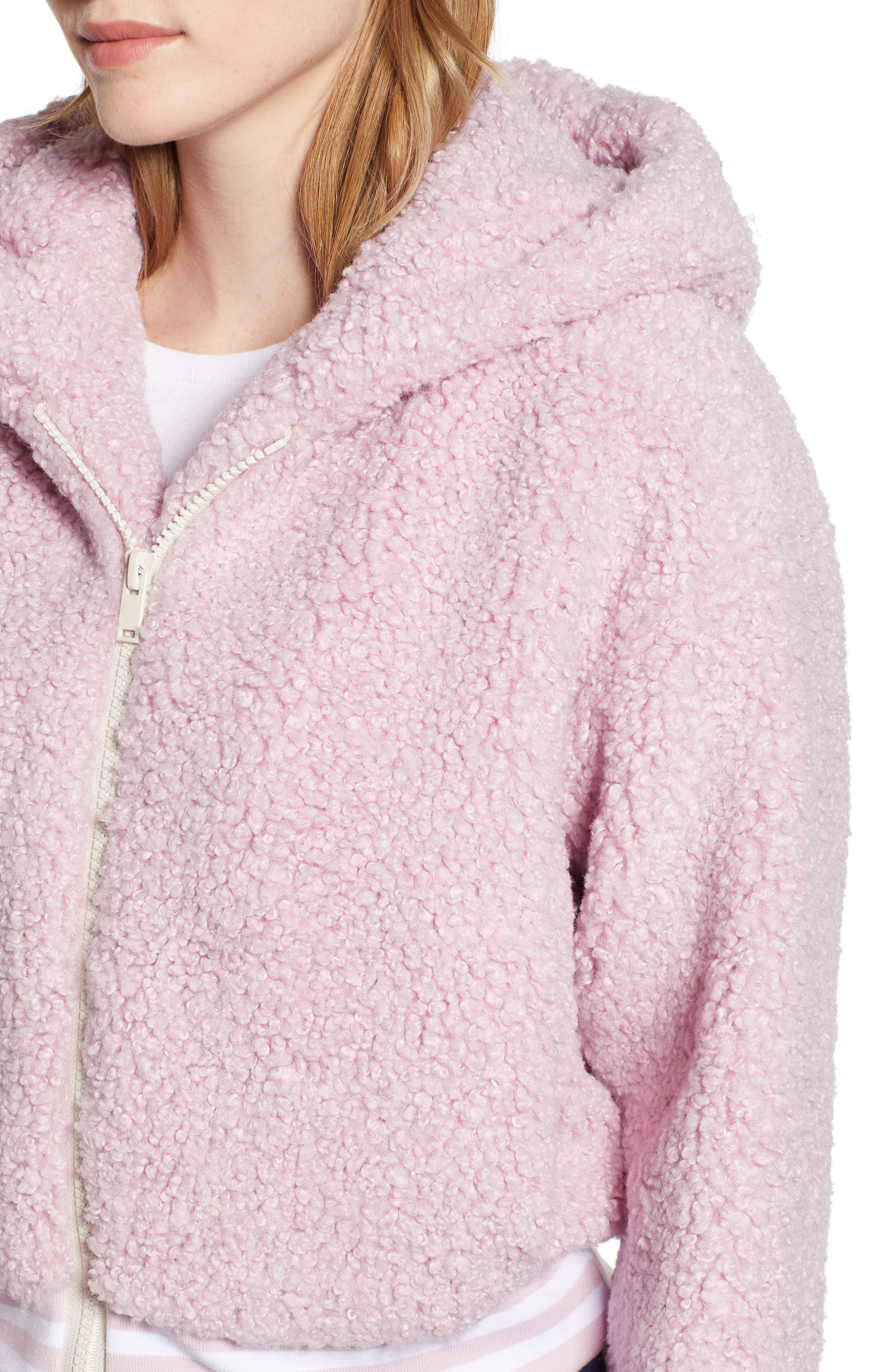 Frida Faux Fur Hooded Jacket,                             Alternate thumbnail 4, color,                             WINSOME ORCHID 3741