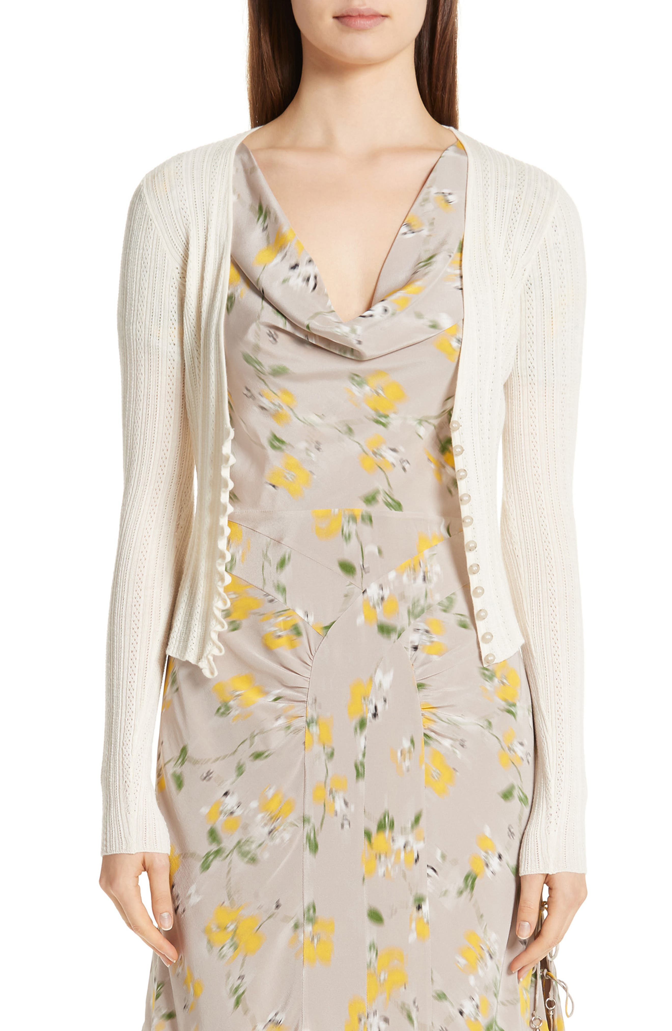 Crop Wool & Cashmere Button Cardigan,                             Main thumbnail 1, color,                             IVORY