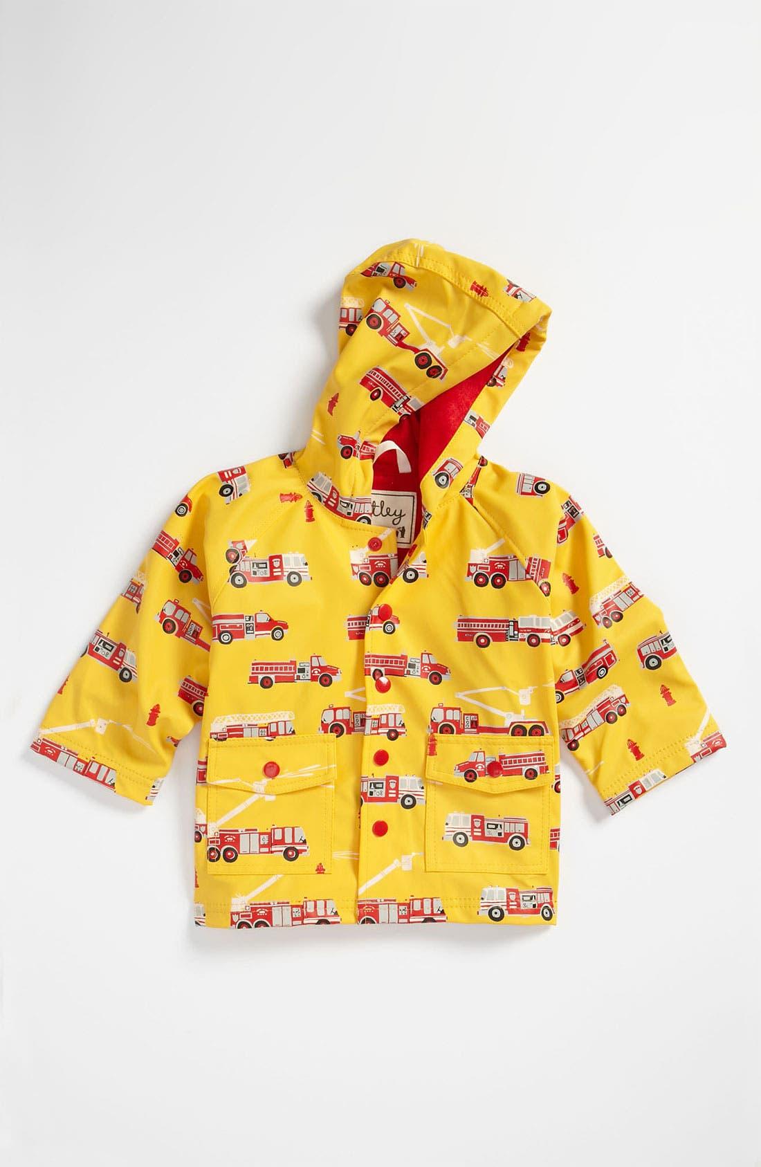 HATLEY,                             'Fire Trucks' Rain Jacket,                             Main thumbnail 1, color,                             700