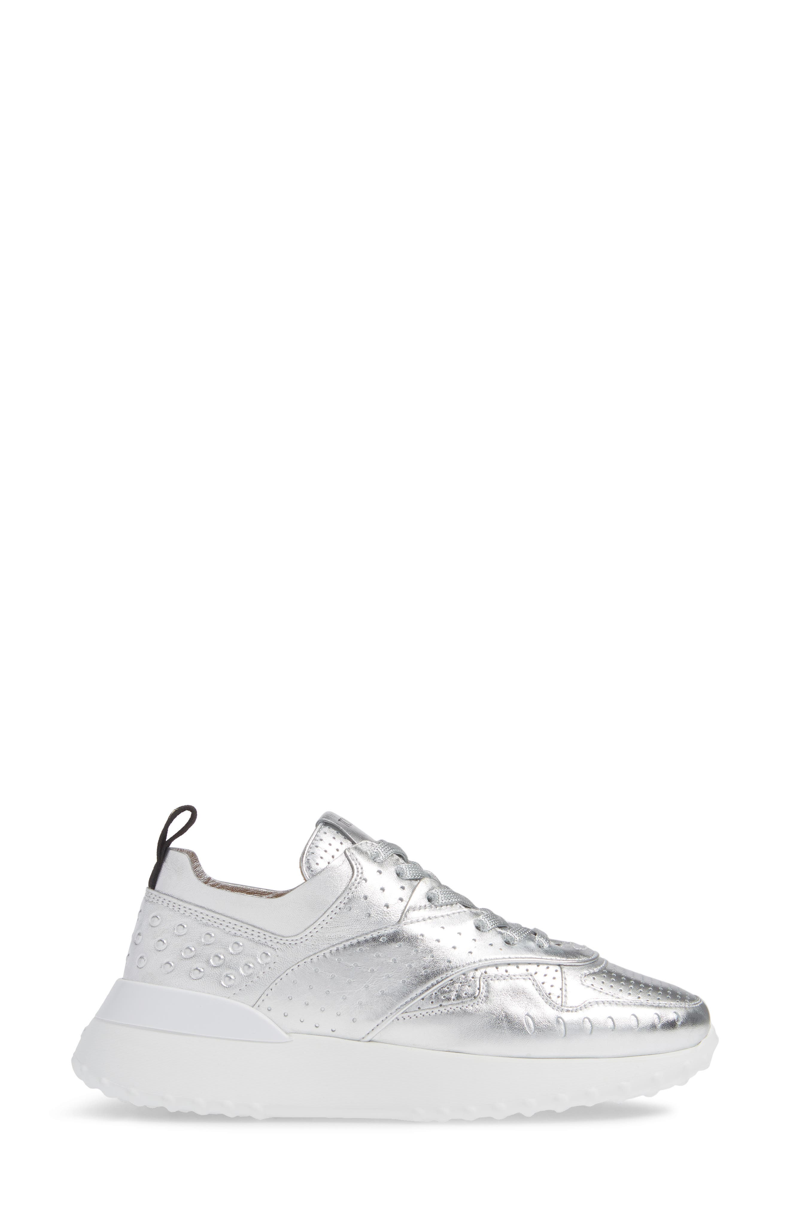 Perforated Lace-Up Sneaker,                             Alternate thumbnail 3, color,                             SILVER