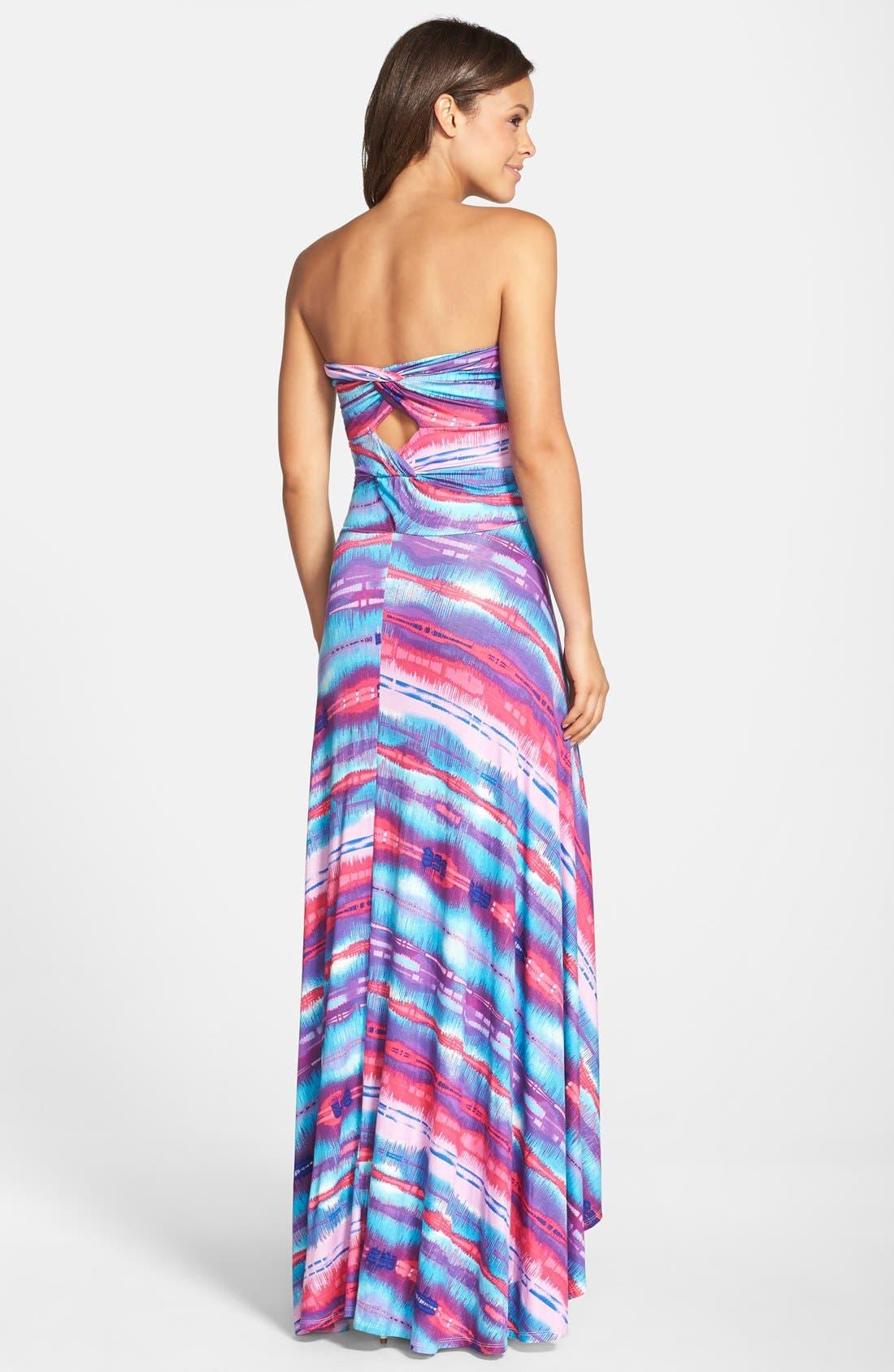 Strapless Neon Print Maxi Dress,                             Alternate thumbnail 8, color,                             429