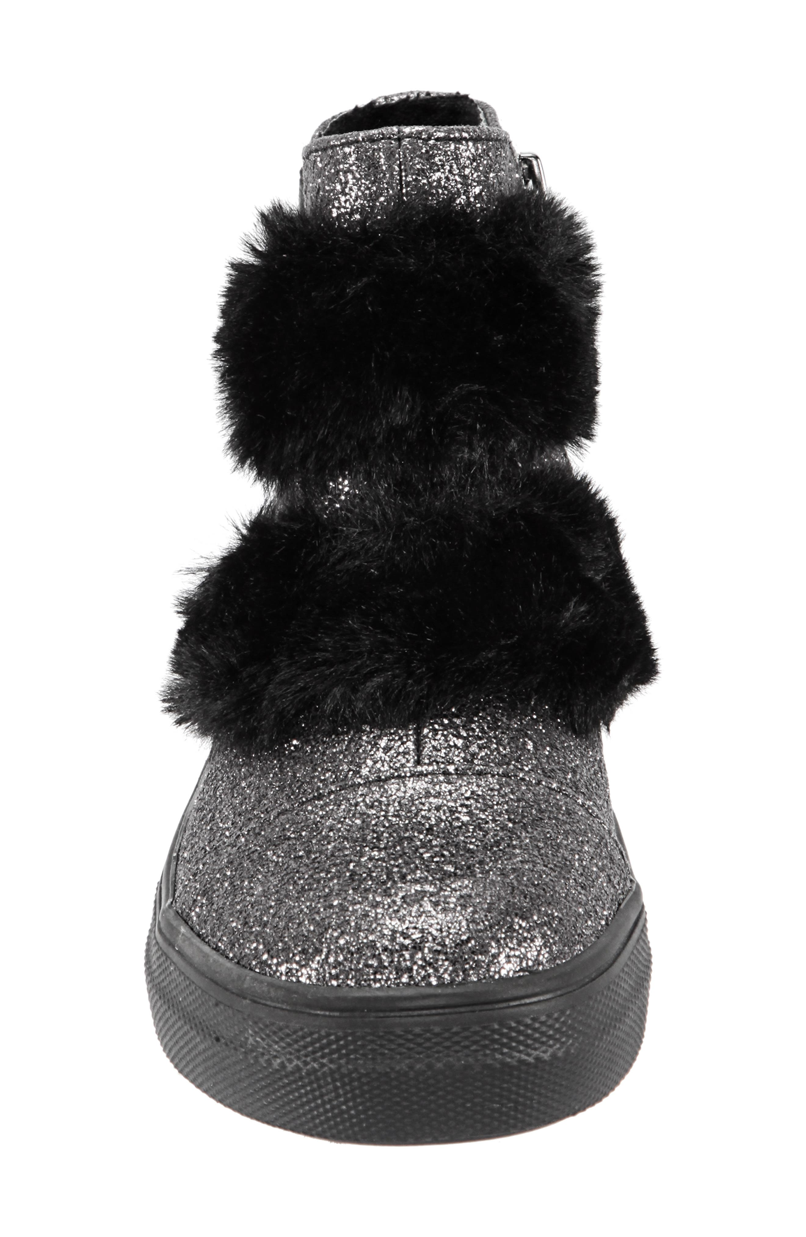 Helen Faux Fur Bootie Sneaker,                             Alternate thumbnail 4, color,                             PEWTER CRACKLE METALLIC