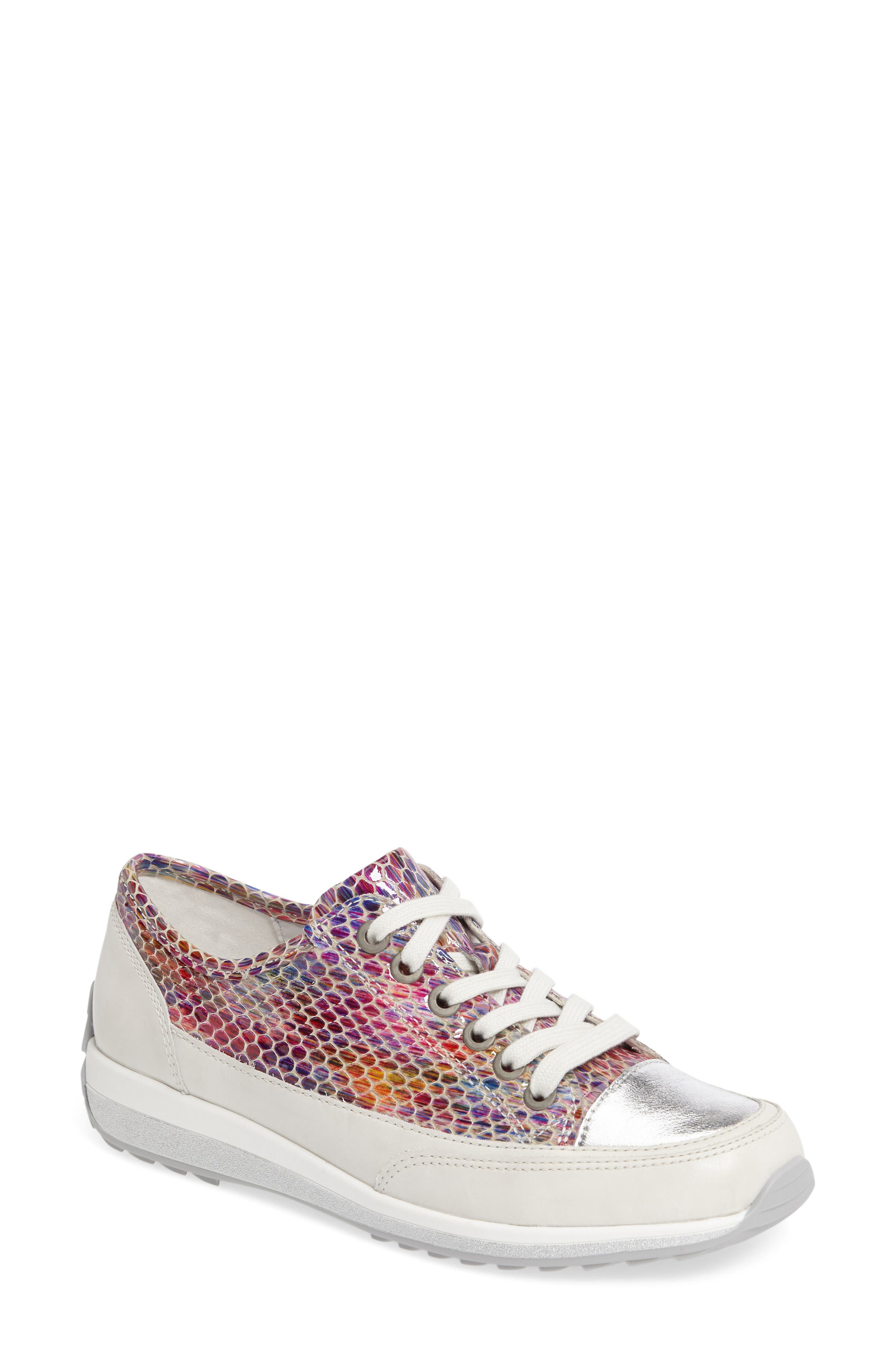 Hermione Sneaker,                             Main thumbnail 1, color,                             WHITE MULTI LEATHER
