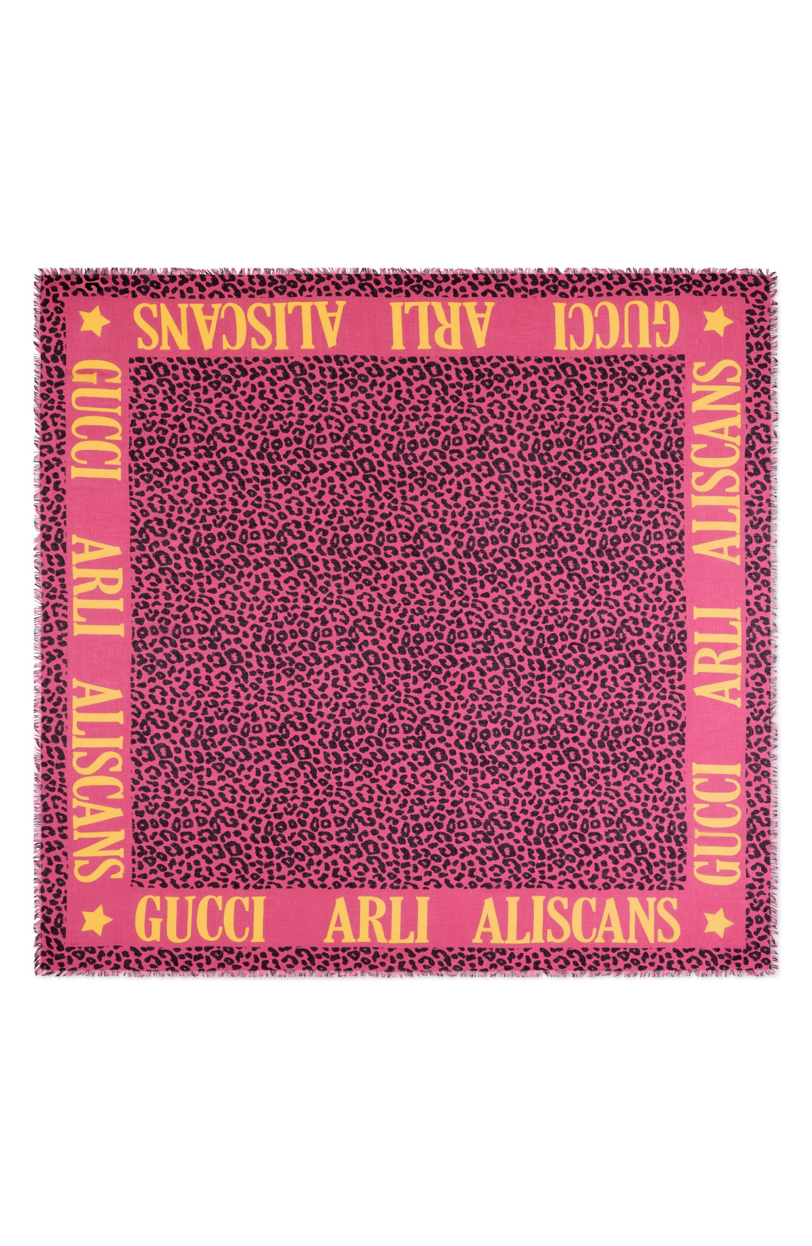 Leos Arles Modal & Silk Leopard Print Scarf,                         Main,                         color, PINK