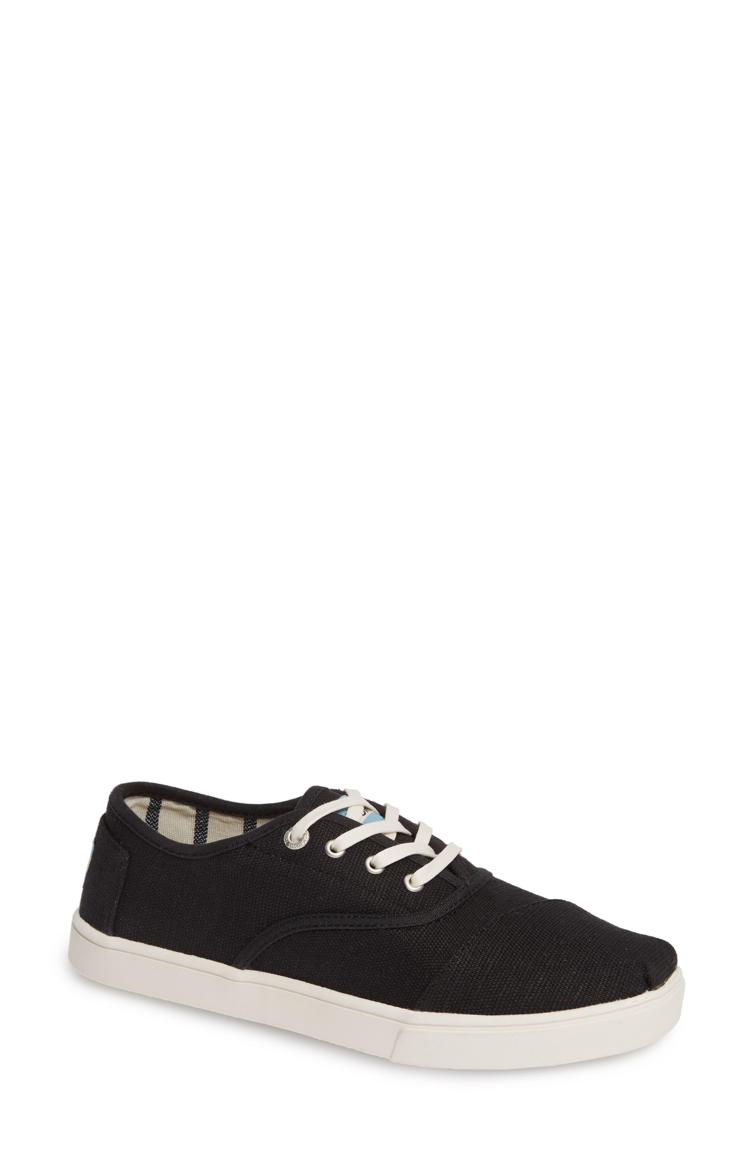 TOMS Cordones Sneaker, Main, color, BLACK HERITAGE CANVAS