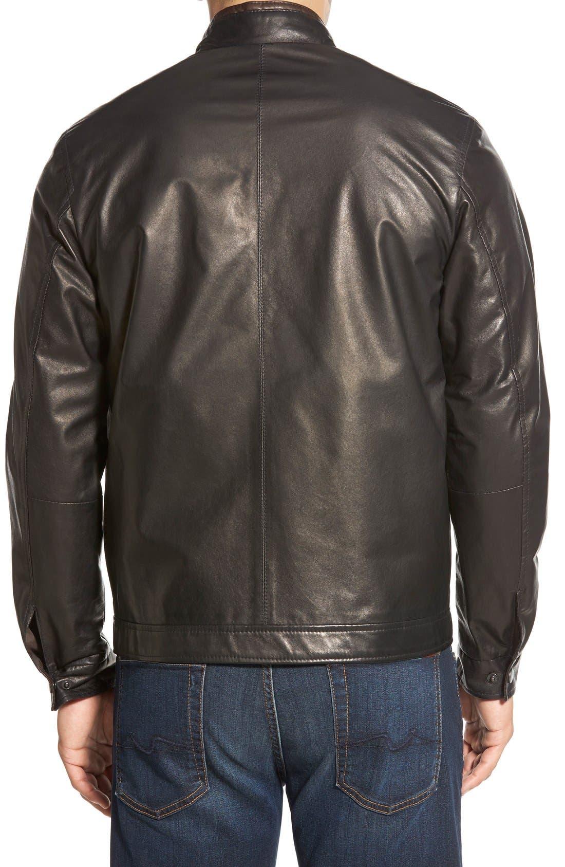 Lambskin Leather Jacket,                             Alternate thumbnail 2, color,                             MIDNITE