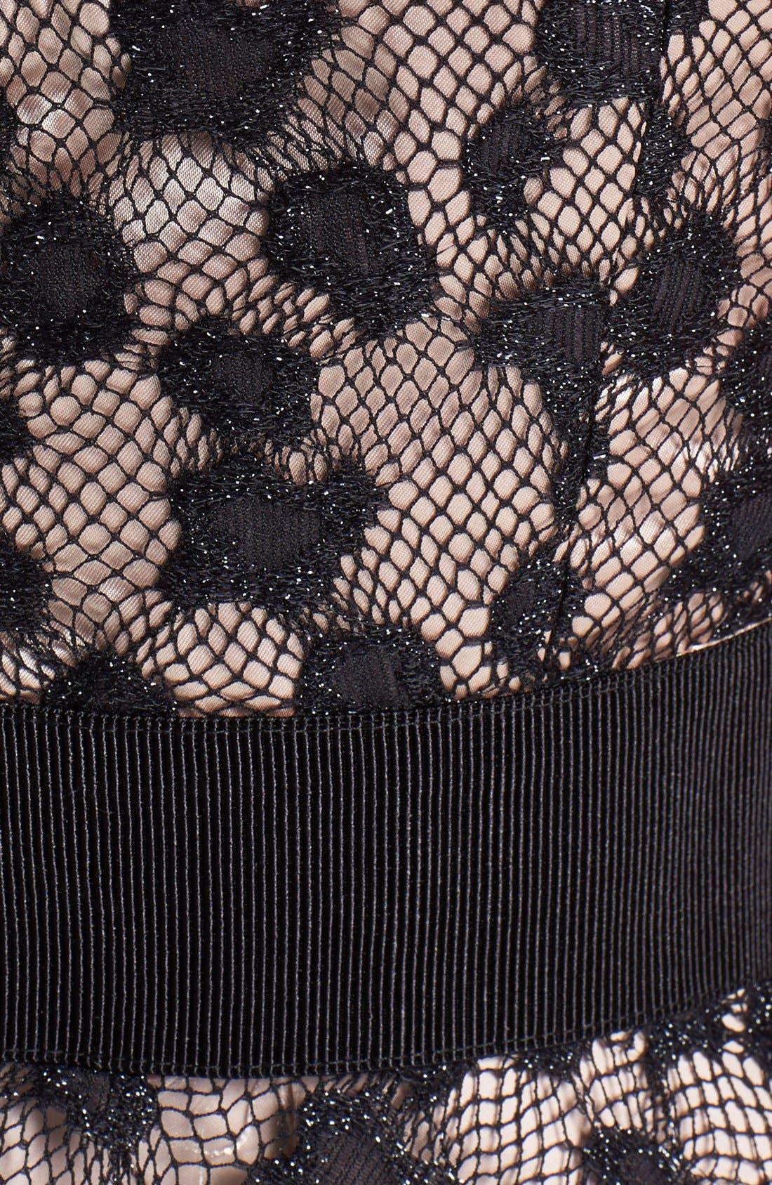 Lace Silk Fit & Flare Dress,                             Alternate thumbnail 3, color,                             280