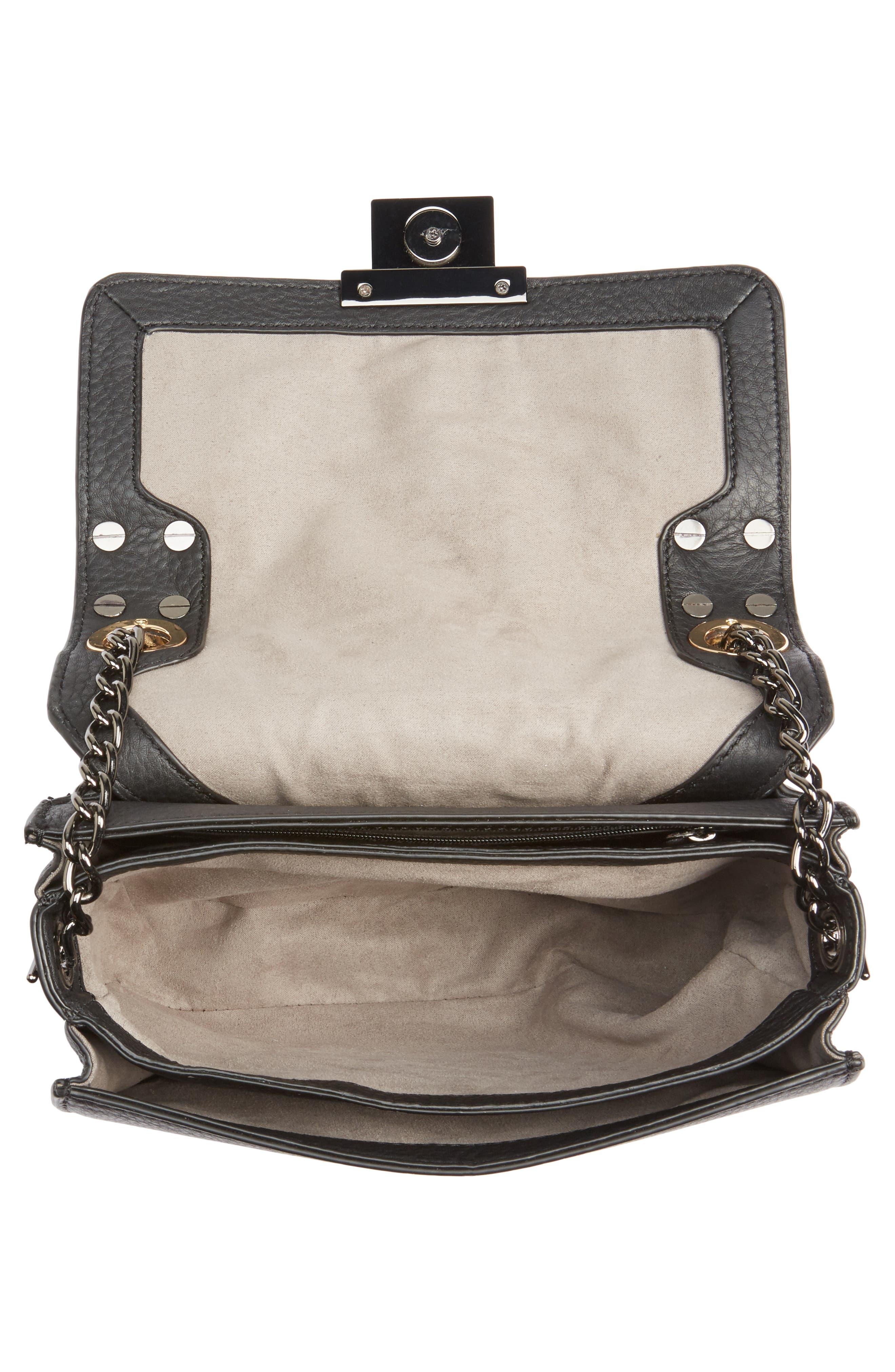 Bitty Studded Leather Shoulder Bag,                             Alternate thumbnail 4, color,                             002