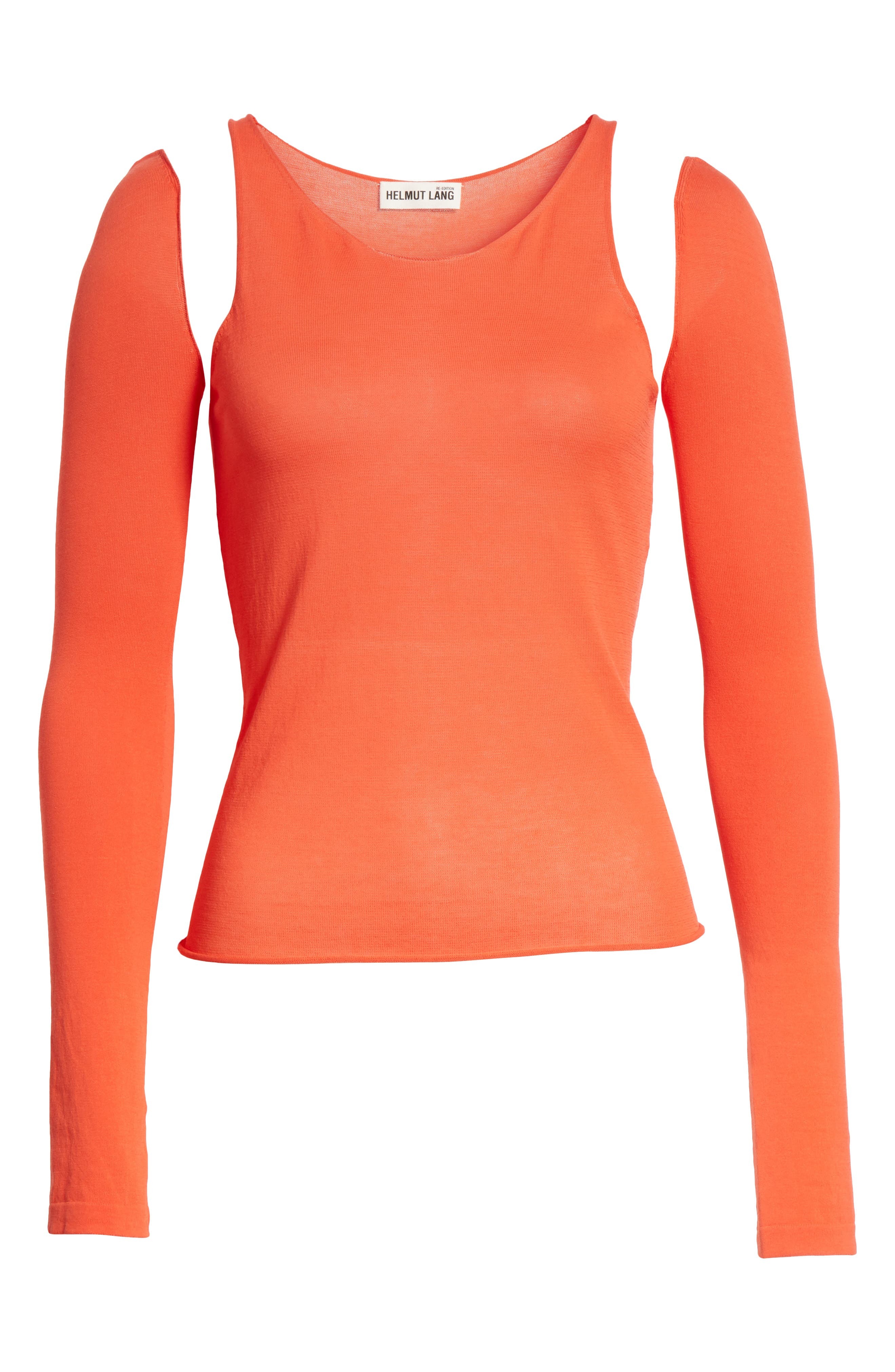 Ribbed Tank Top with Long Sleeves,                             Alternate thumbnail 6, color,                             808