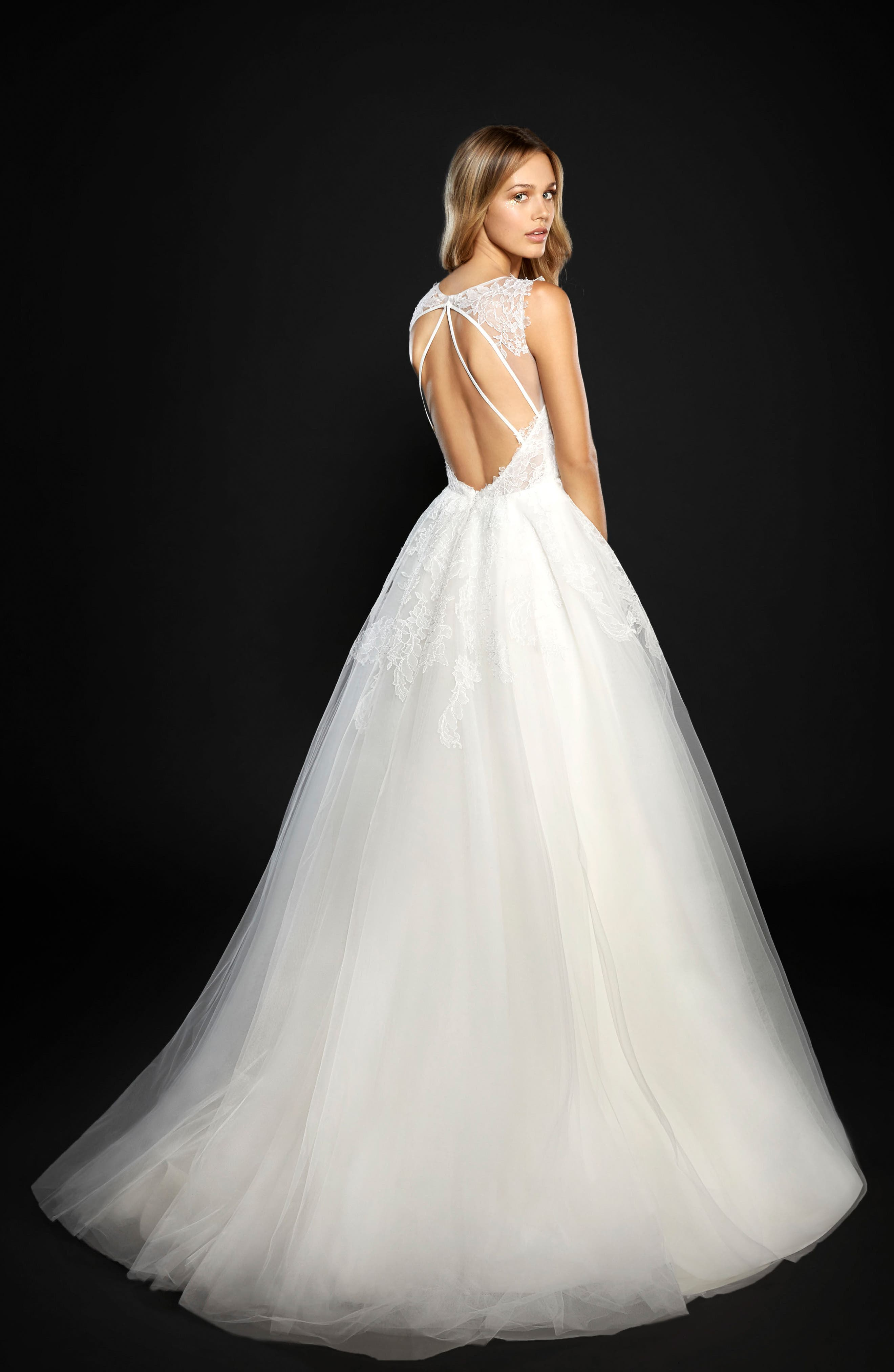 Winnie Lace & Tulle Ballgown,                             Alternate thumbnail 2, color,                             IVORY