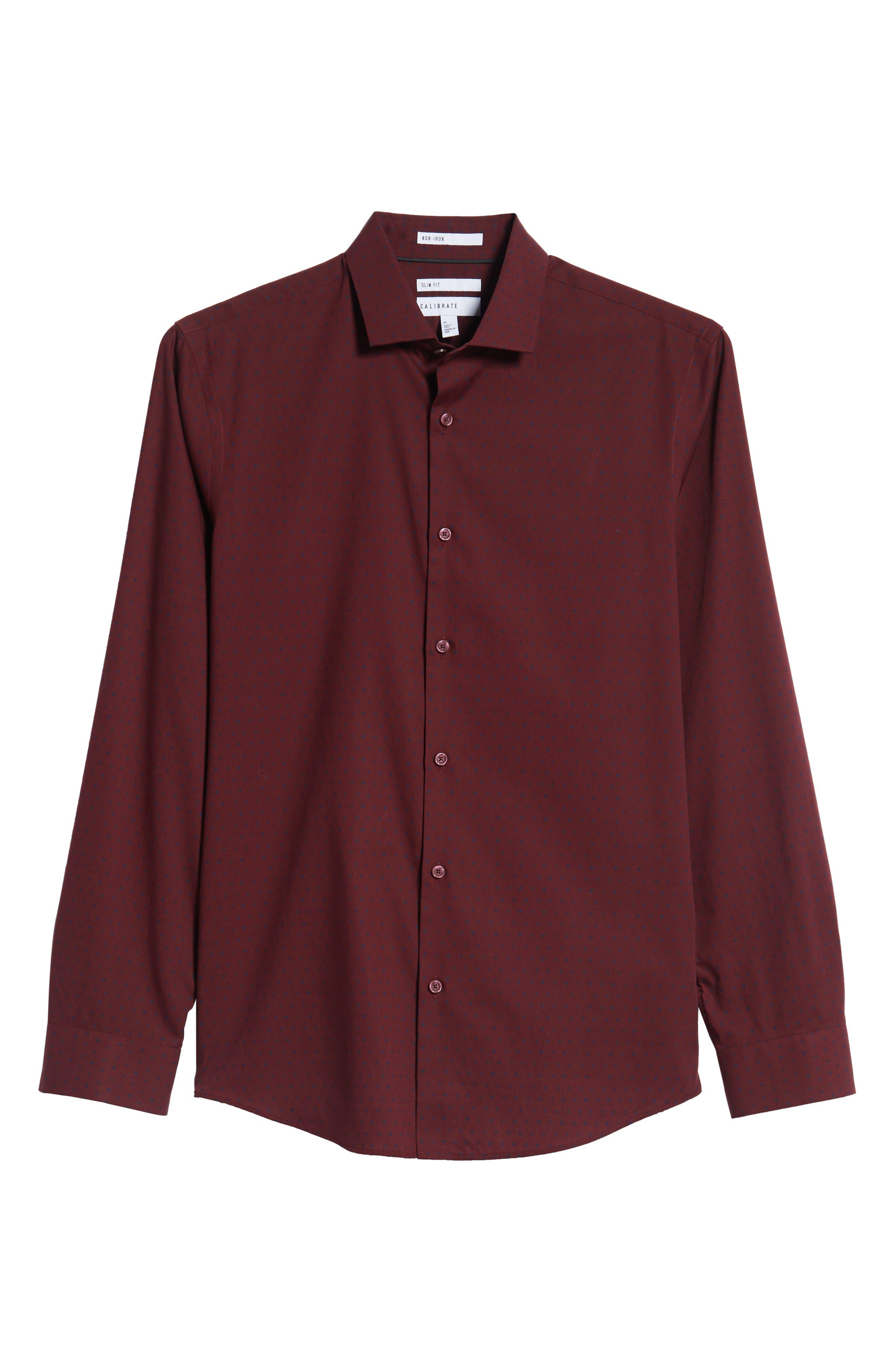 Slim Fit Non Iron Polka Dot Sport Shirt,                             Alternate thumbnail 5, color,                             BURGUNDY ROYALE NAVY DOT