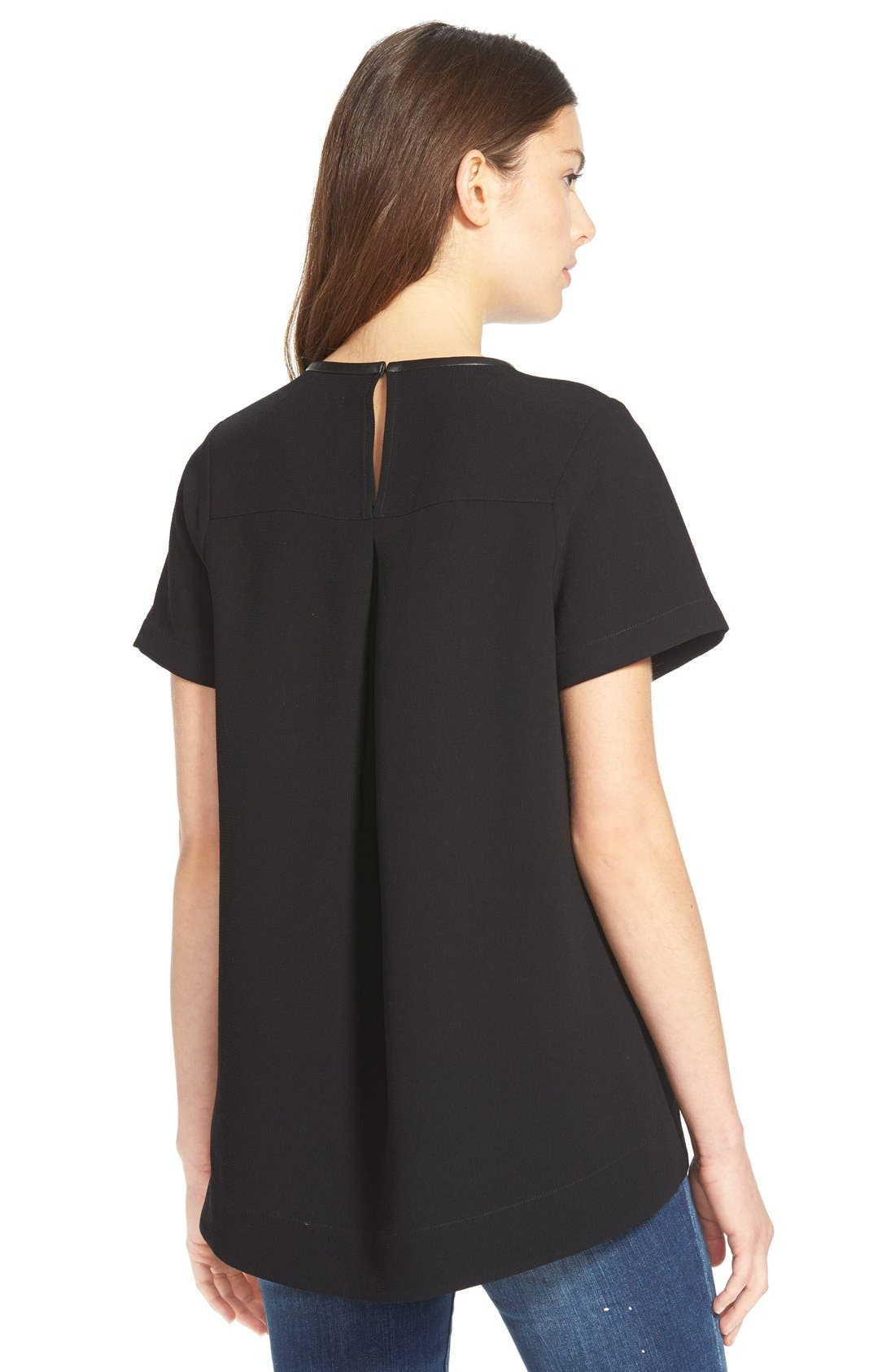 Leather Trim Tailored Tee,                             Alternate thumbnail 2, color,                             001
