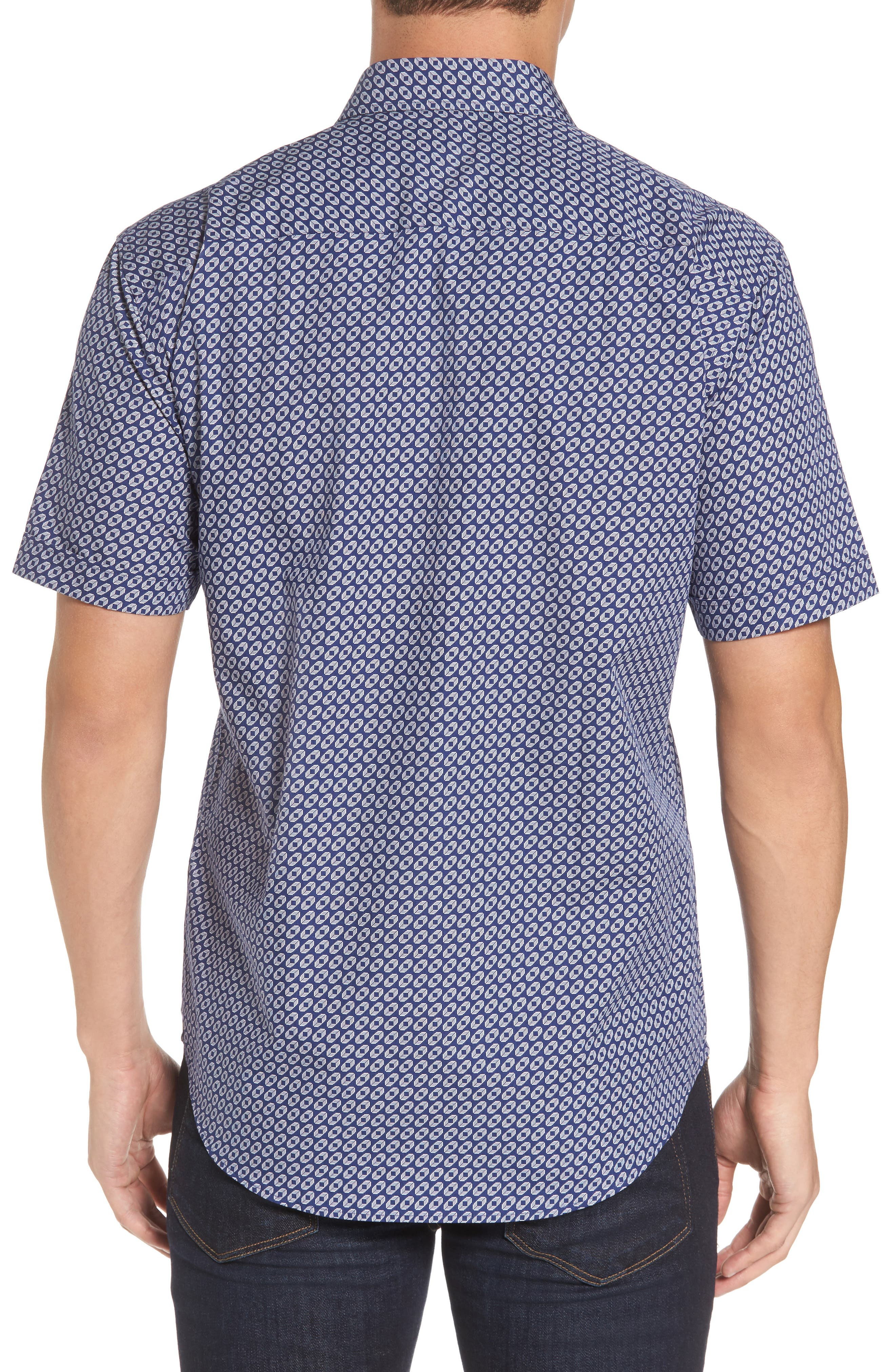 Shaped Fit Geo Print Sport Shirt,                             Alternate thumbnail 2, color,