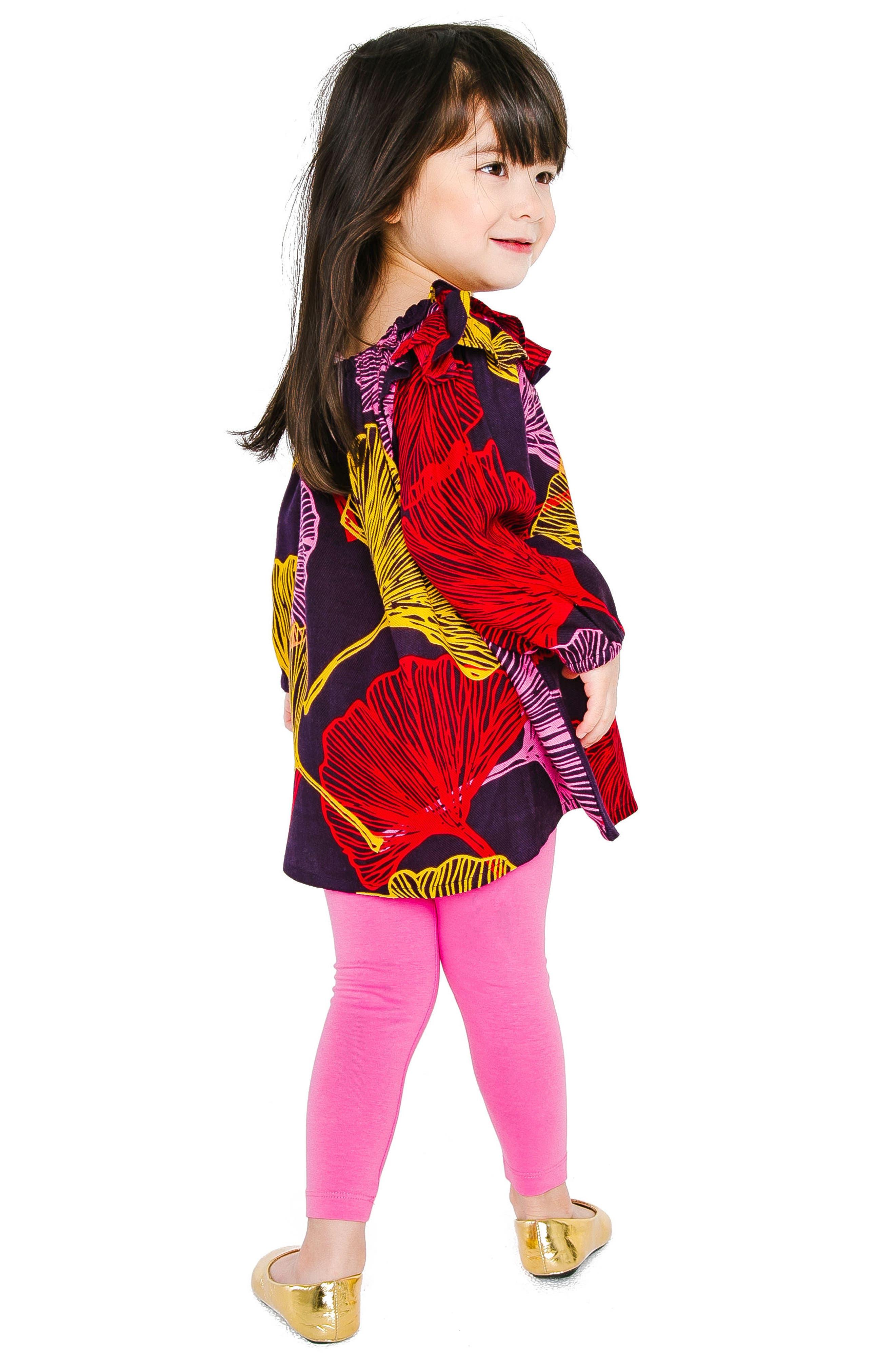 Anais Leaf Print Dress,                             Alternate thumbnail 3, color,                             PURPLE
