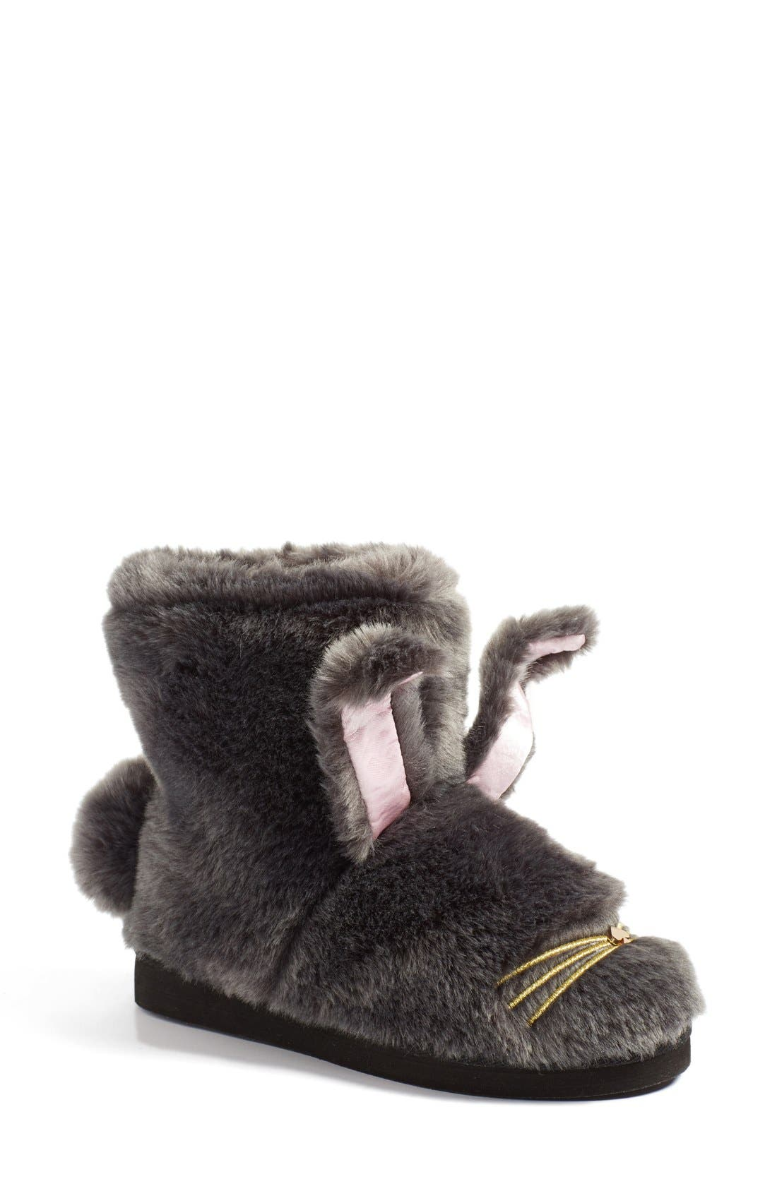 KATE SPADE NEW YORK 'bethie' faux fur bunny slipper, Main, color, 034