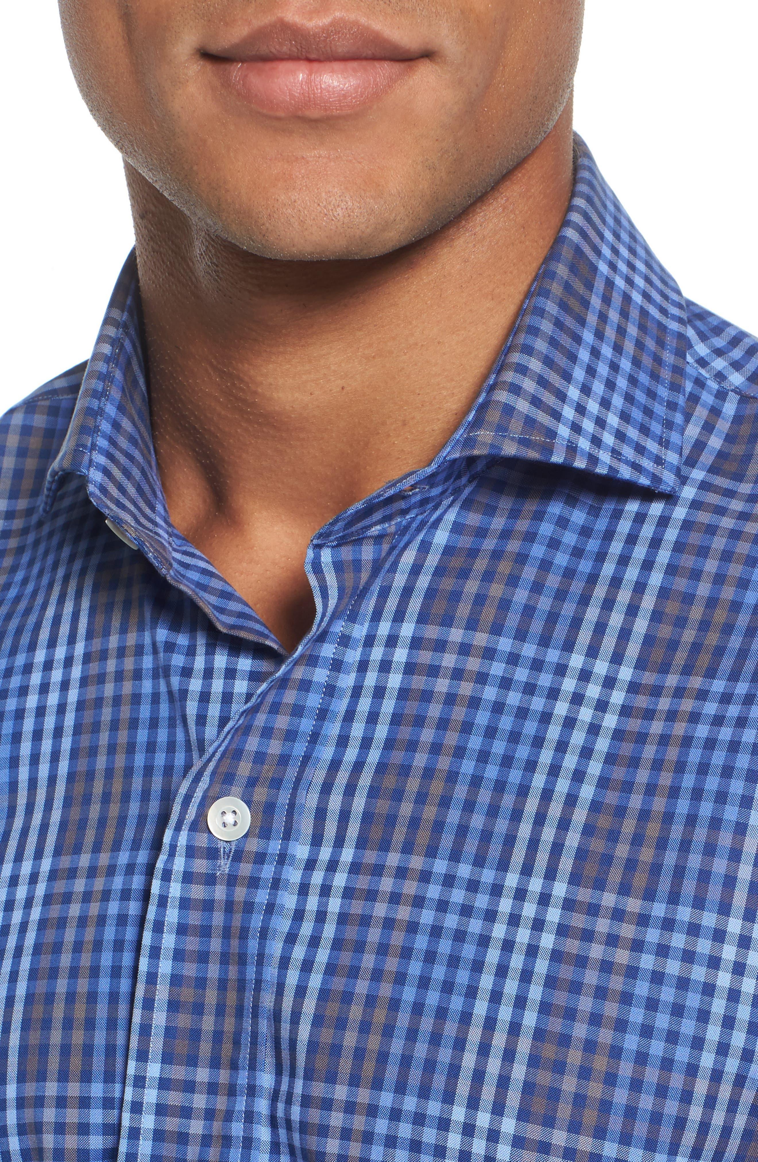 Alden Slim Fit Check Sport Shirt,                             Alternate thumbnail 4, color,                             400