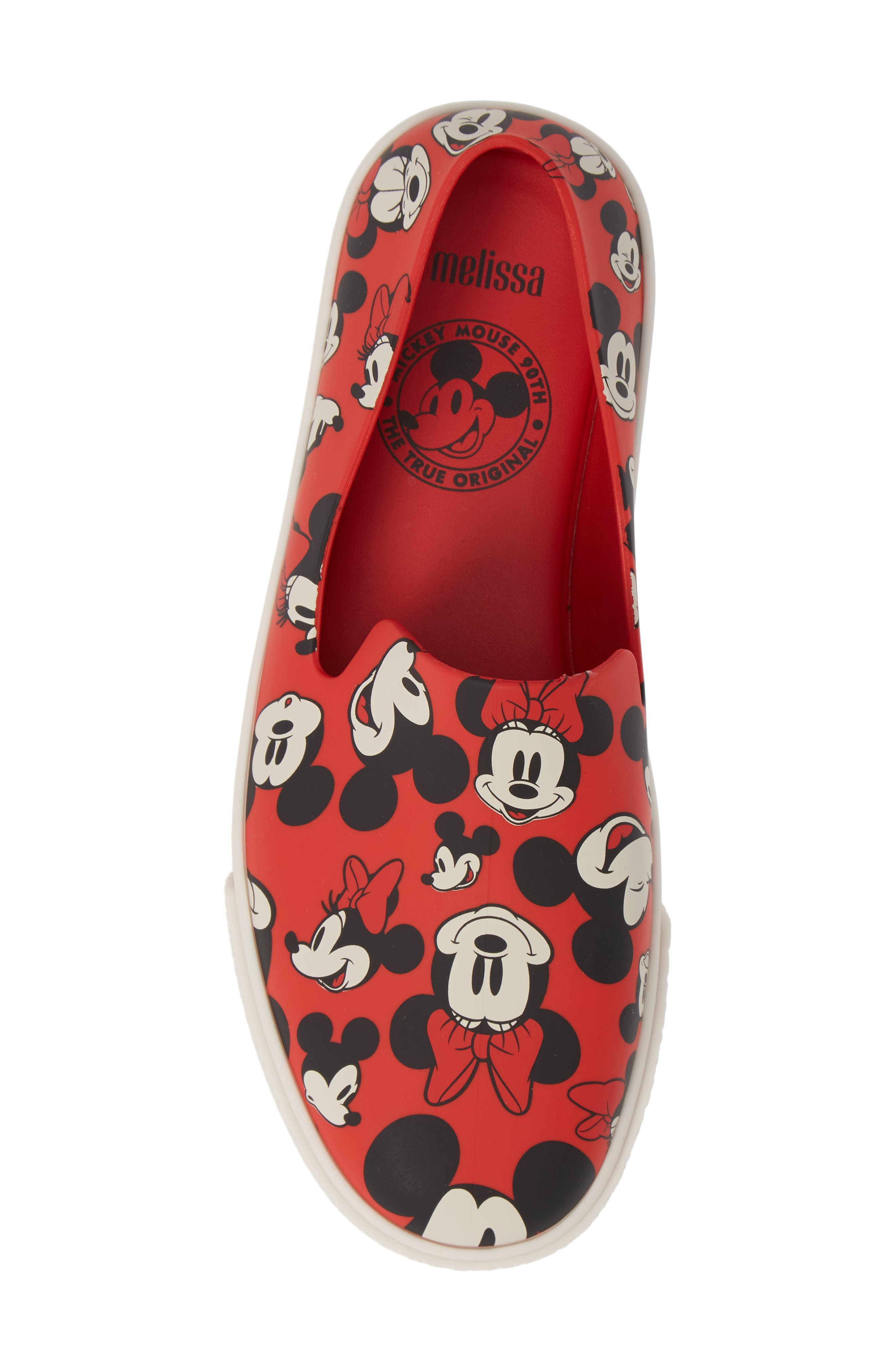 Ground Mickey Mouse Slip-On Sneaker,                             Alternate thumbnail 5, color,                             RED/ WHITE FABRIC
