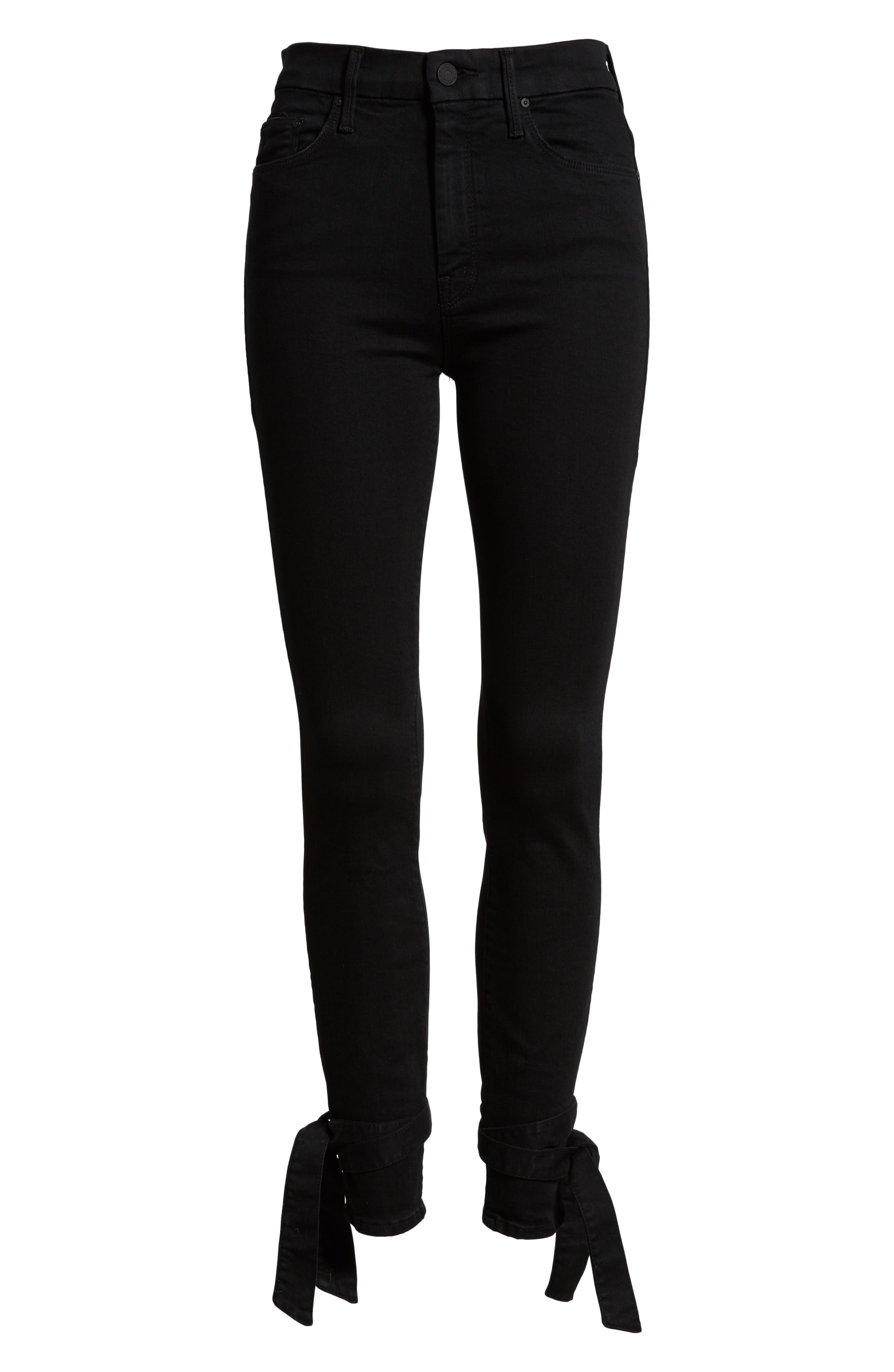 The Looker High Waist Bow Ankle Skinny Jeans,                             Alternate thumbnail 7, color,                             001