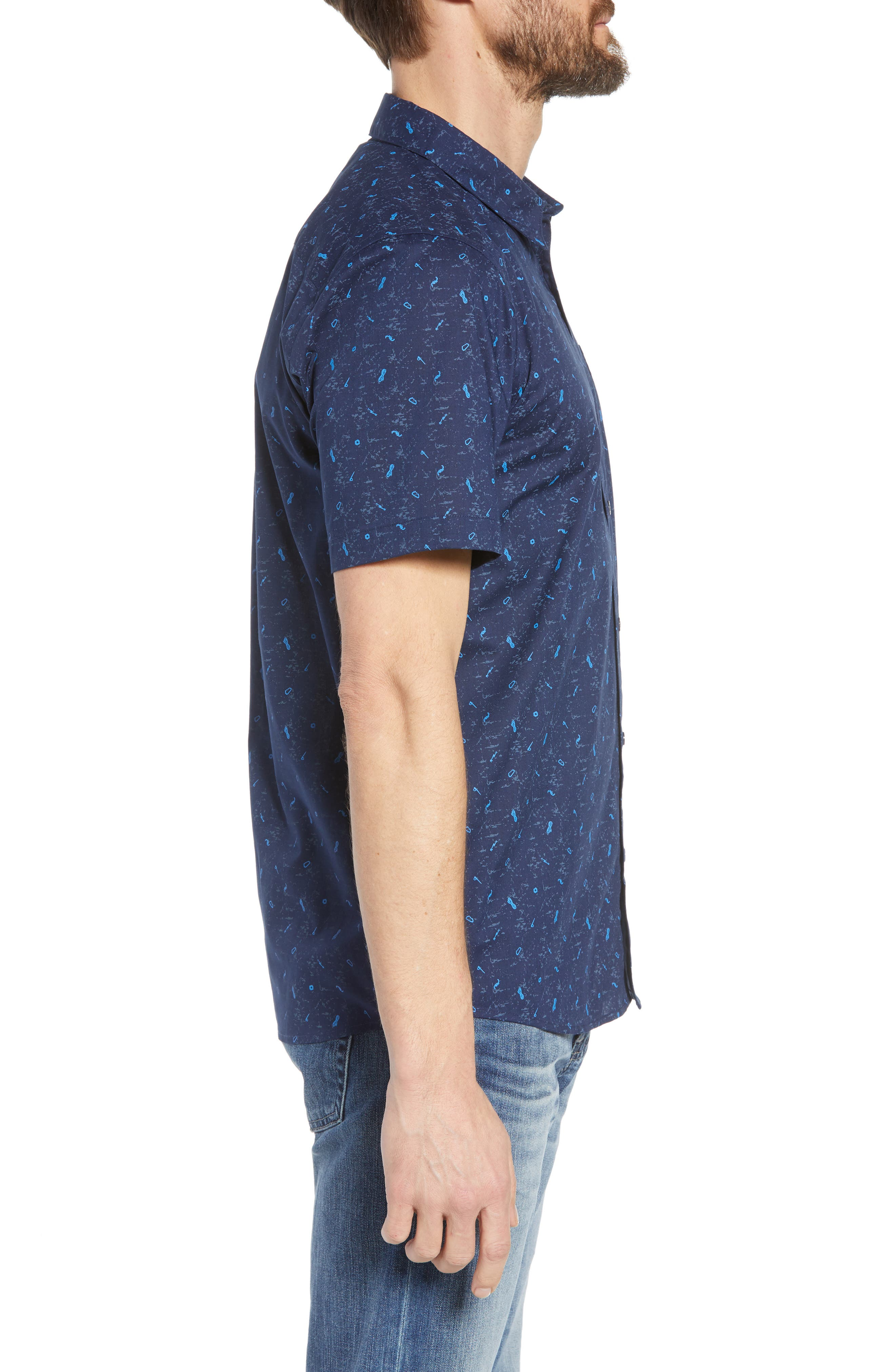 'Go To' Slim Fit Short Sleeve Sport Shirt,                             Alternate thumbnail 3, color,                             ROCKWALL/ CLASSIC NAVY