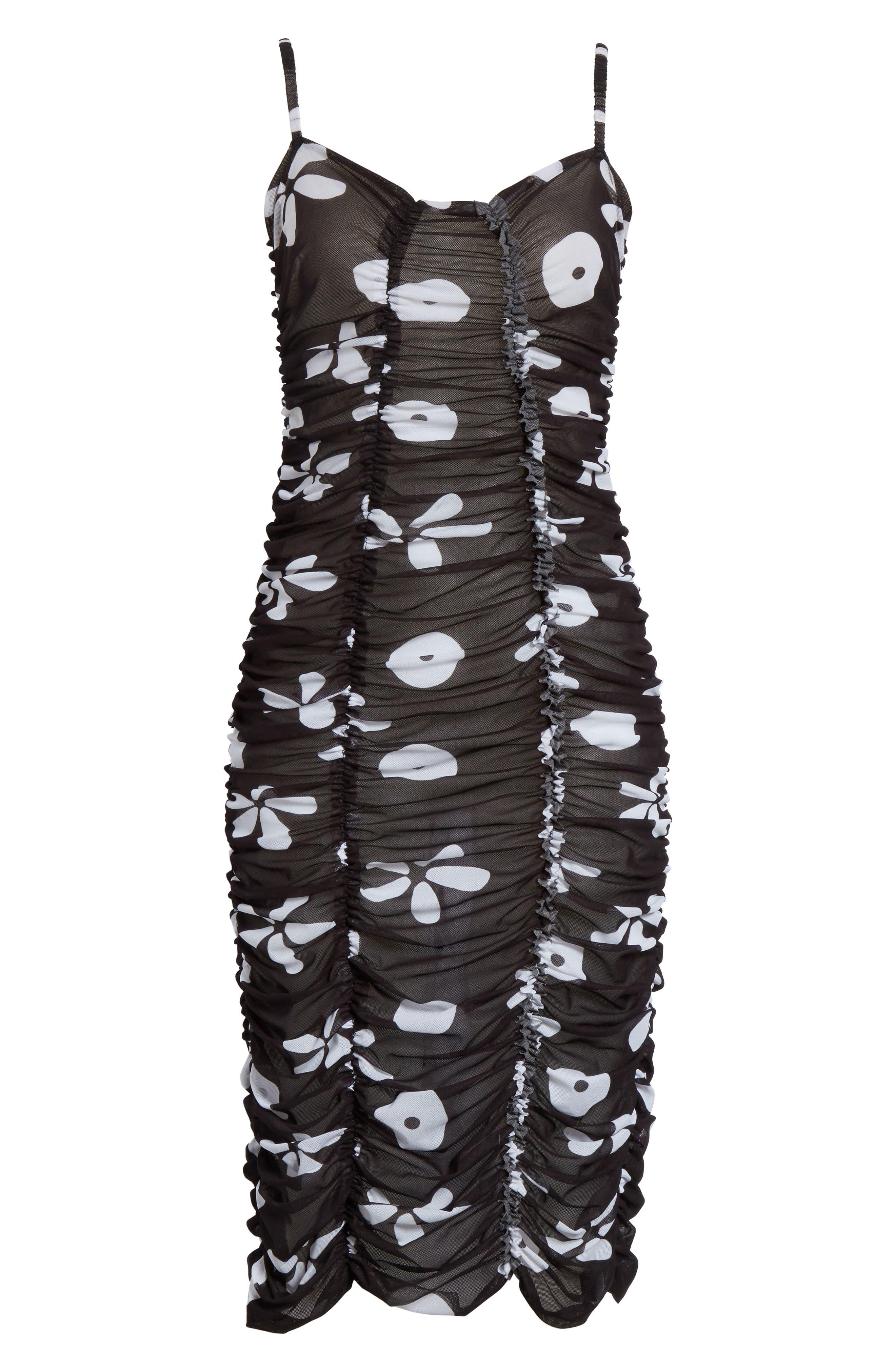 Scarlett Floral Print Mesh Dress,                             Alternate thumbnail 6, color,                             001