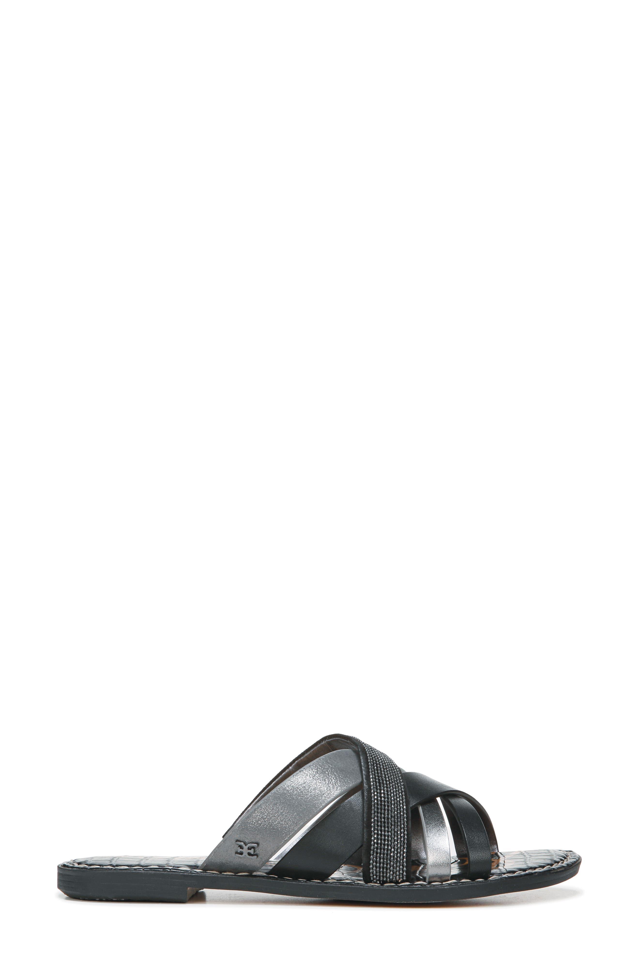 Glennia Slide Sandal,                             Alternate thumbnail 3, color,                             DARK PEWTER/ BLACK LEATHER