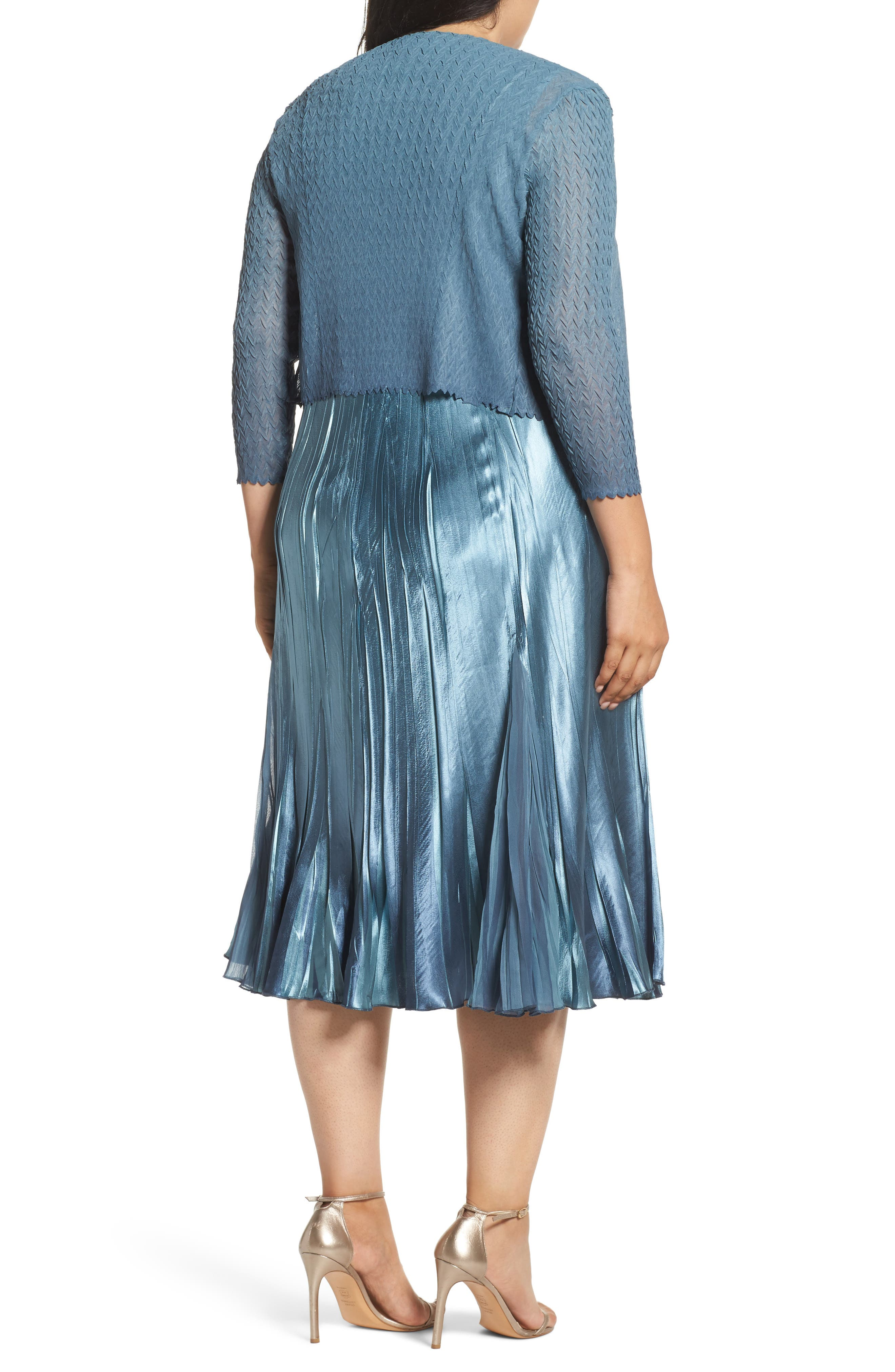 Embellished Charmeuse & Chiffon Dress with Jacket,                             Alternate thumbnail 2, color,                             460