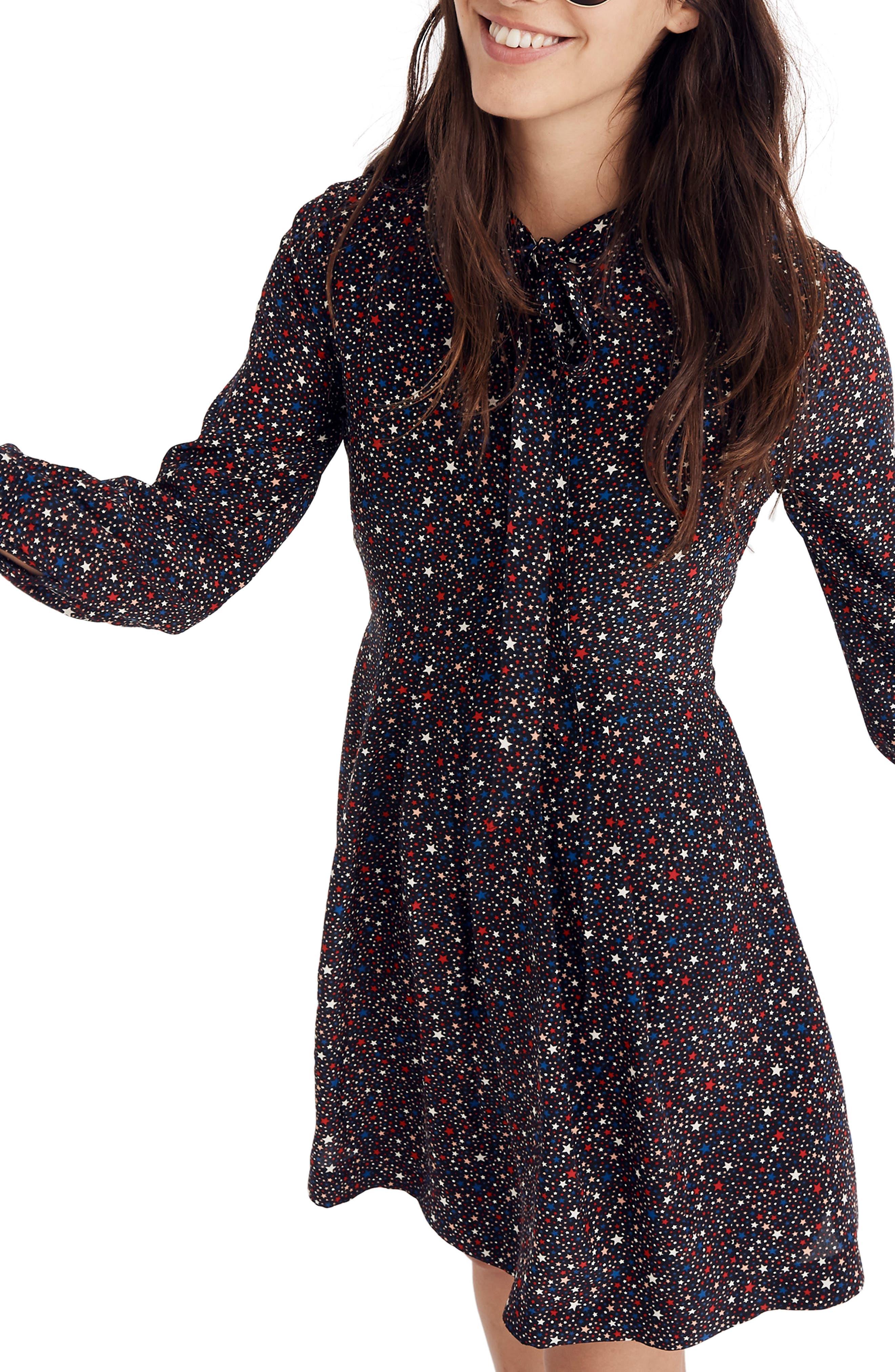 Balsam Tie-Neck Dress,                         Main,                         color, DARK MEDITERRANEAN