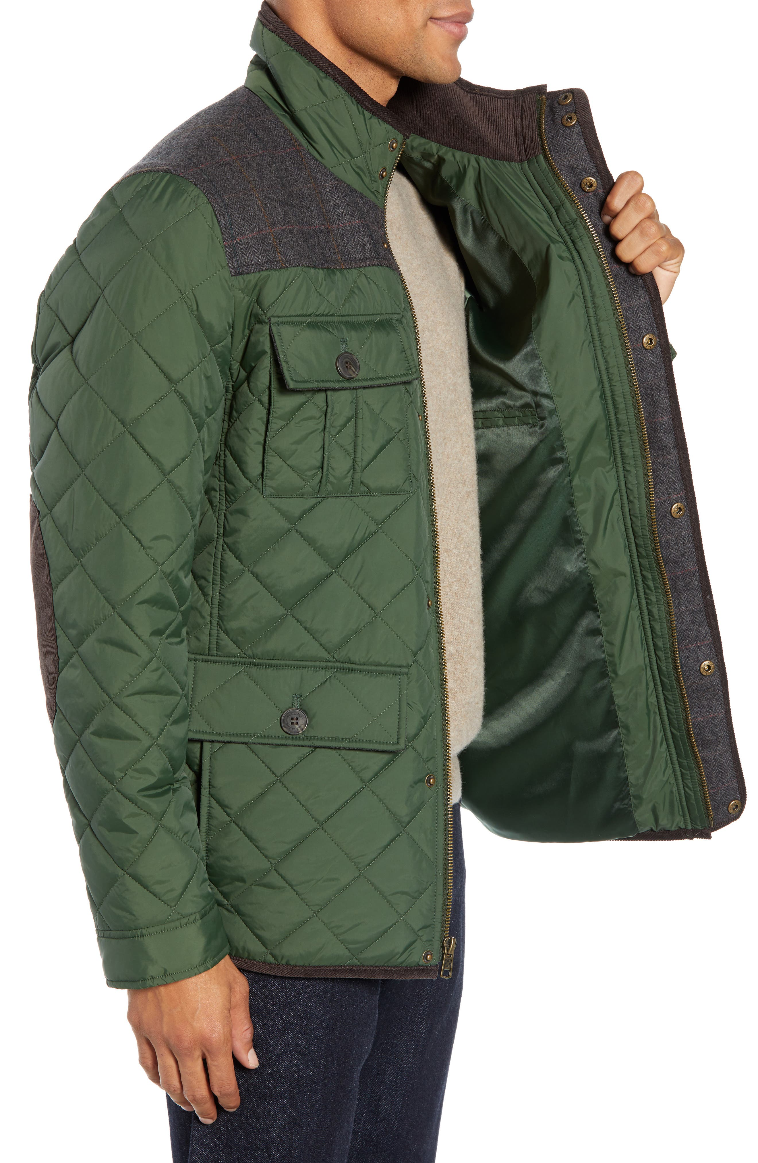 Diamond Quilted Full Zip Jacket,                             Alternate thumbnail 3, color,                             OLIVE
