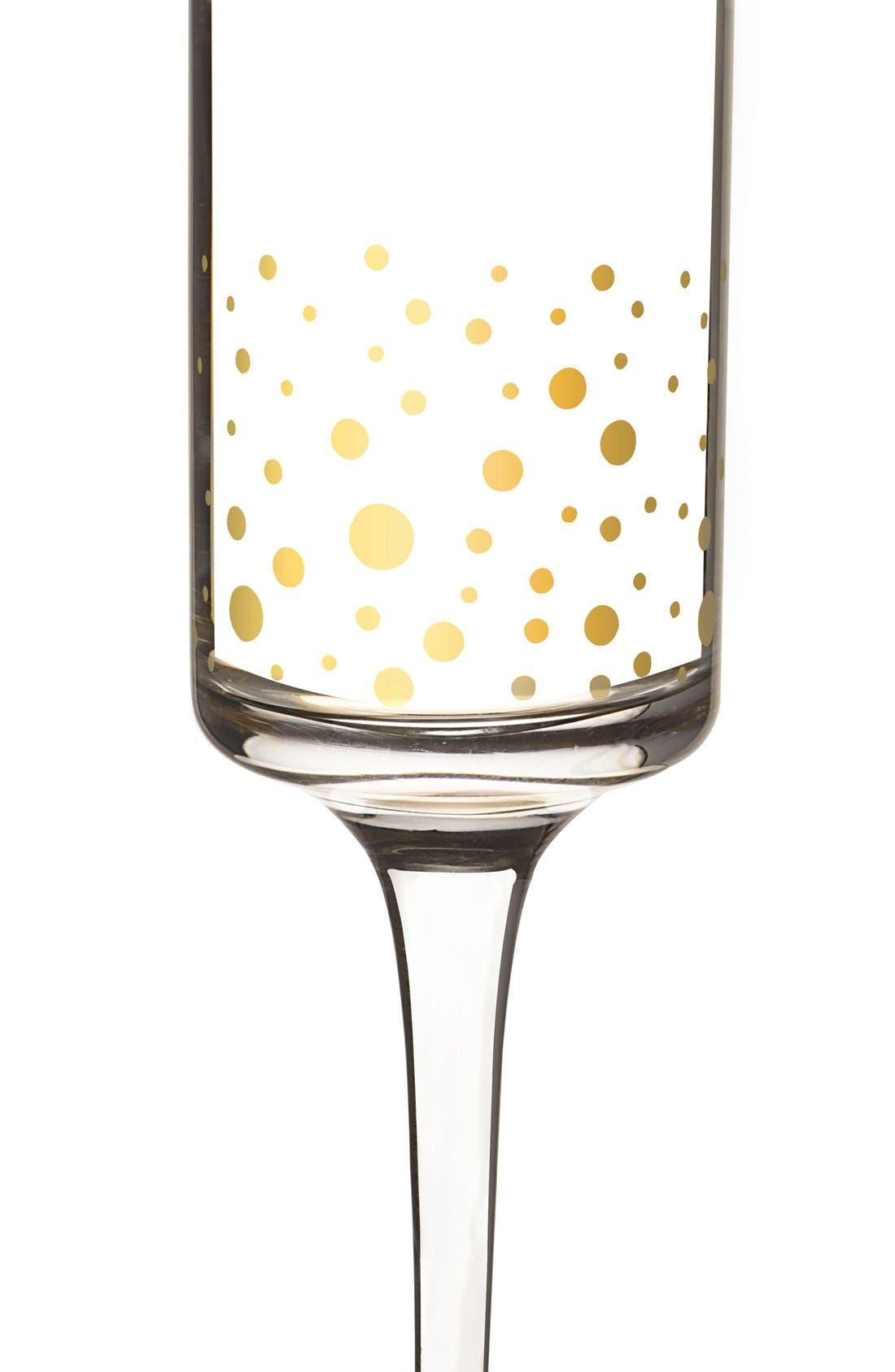 Gold Dot Monogram Champagne Flutes,                             Alternate thumbnail 3, color,                             710