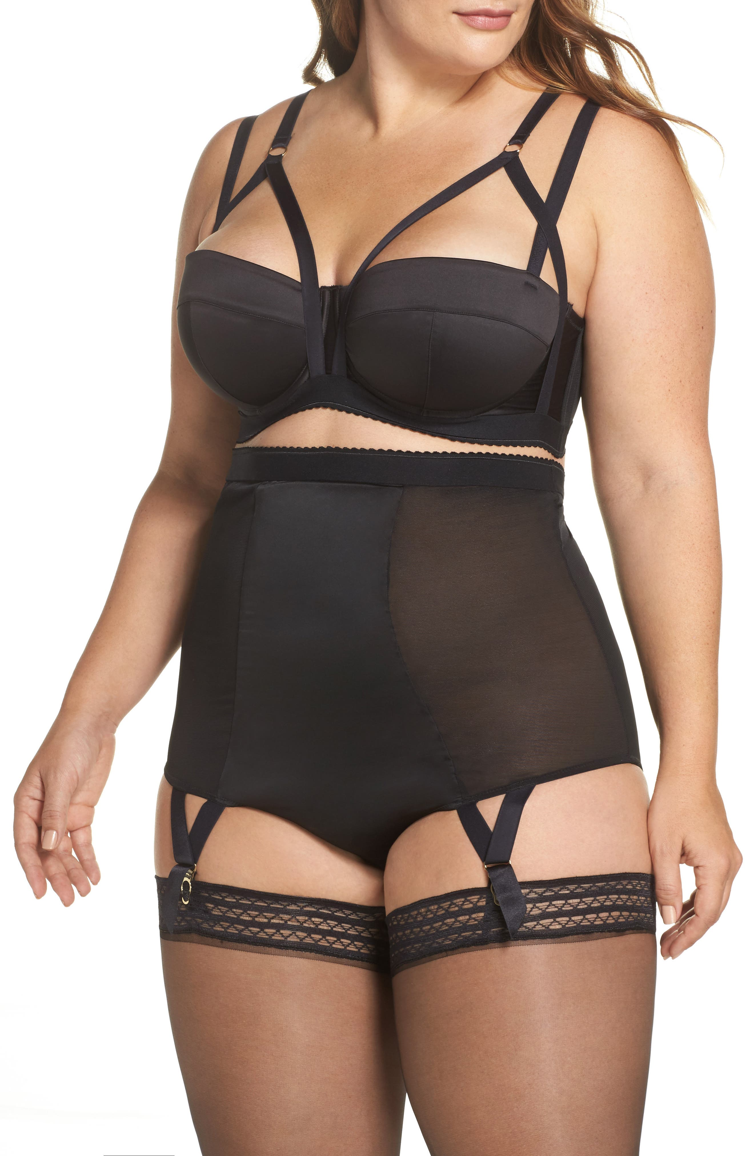 Playful Promies Candace Noir Strappy Underwire Bra,                             Alternate thumbnail 6, color,