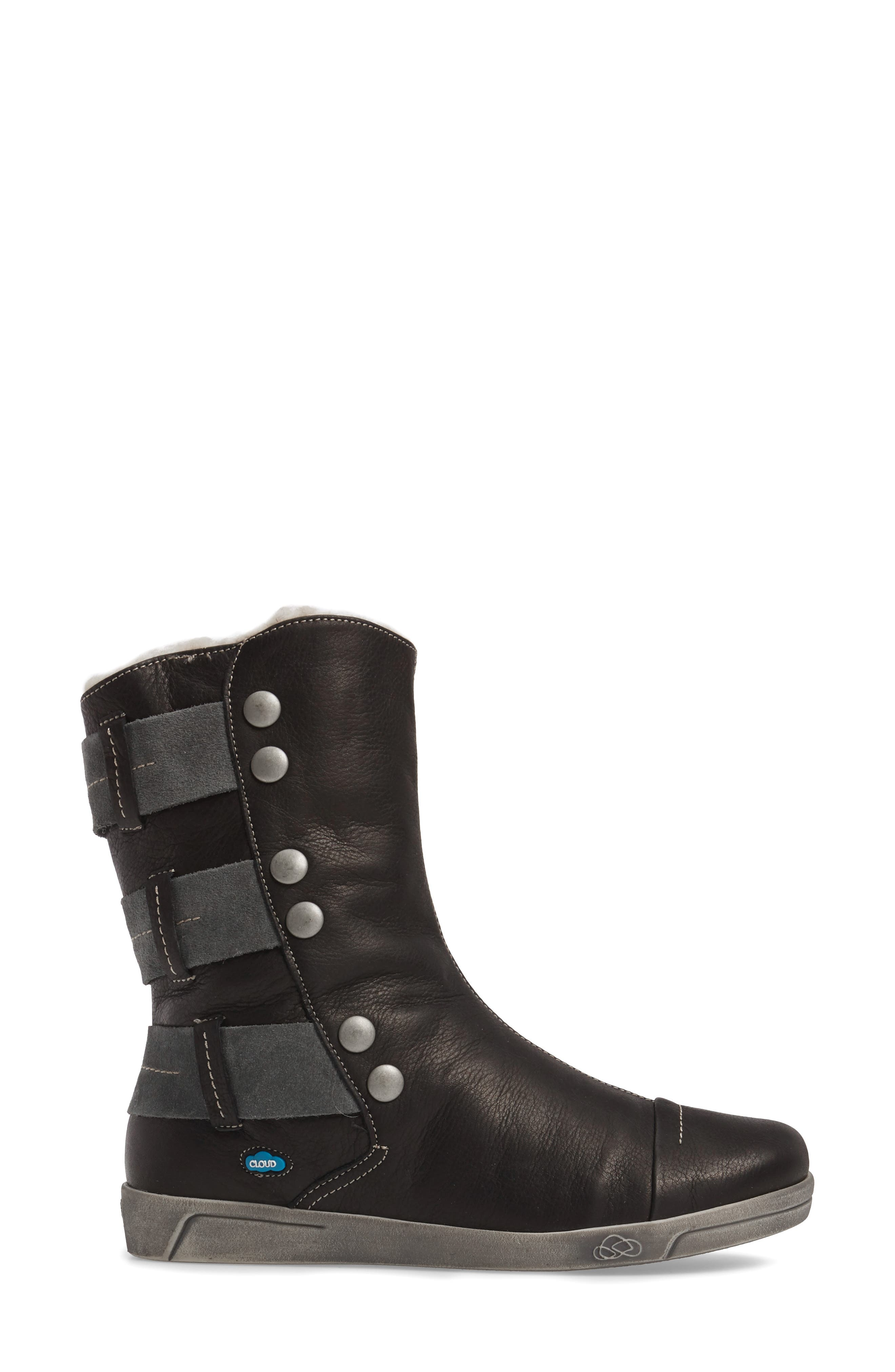 Amber Wool Lined Bootie,                             Alternate thumbnail 3, color,                             BLACK LEATHER