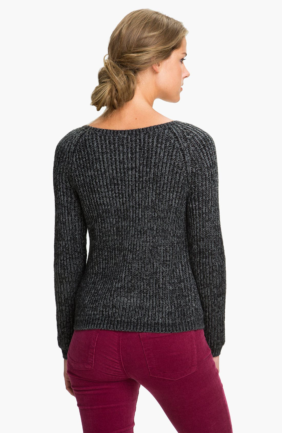 Cable Knit Sweater,                             Alternate thumbnail 3, color,                             001