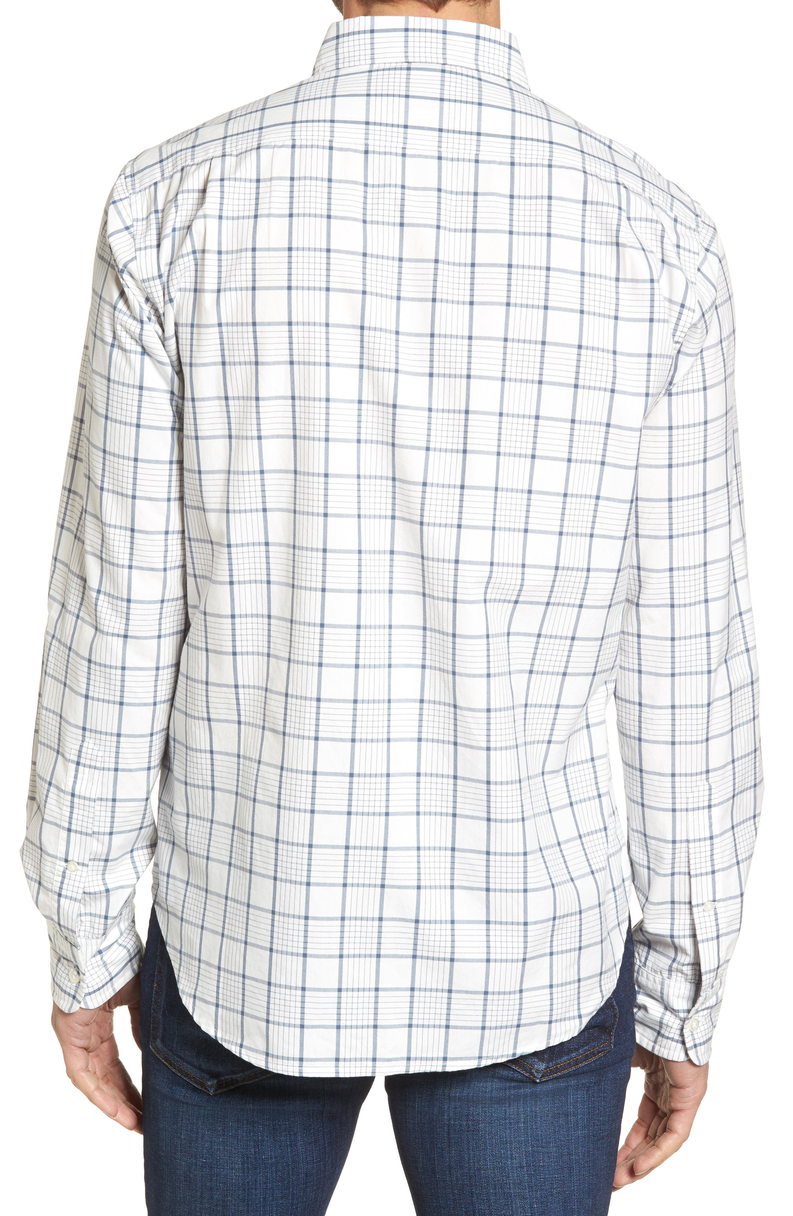 Slim Fit Washed Plaid Sport Shirt,                             Alternate thumbnail 2, color,                             100