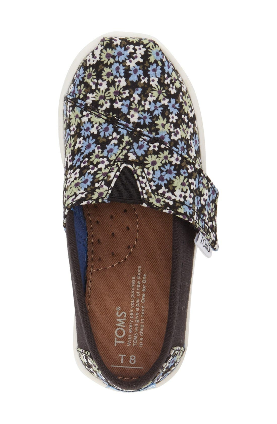 'Classic - Black Canvas Ditsy Floral' Slip-On,                             Alternate thumbnail 3, color,                             001