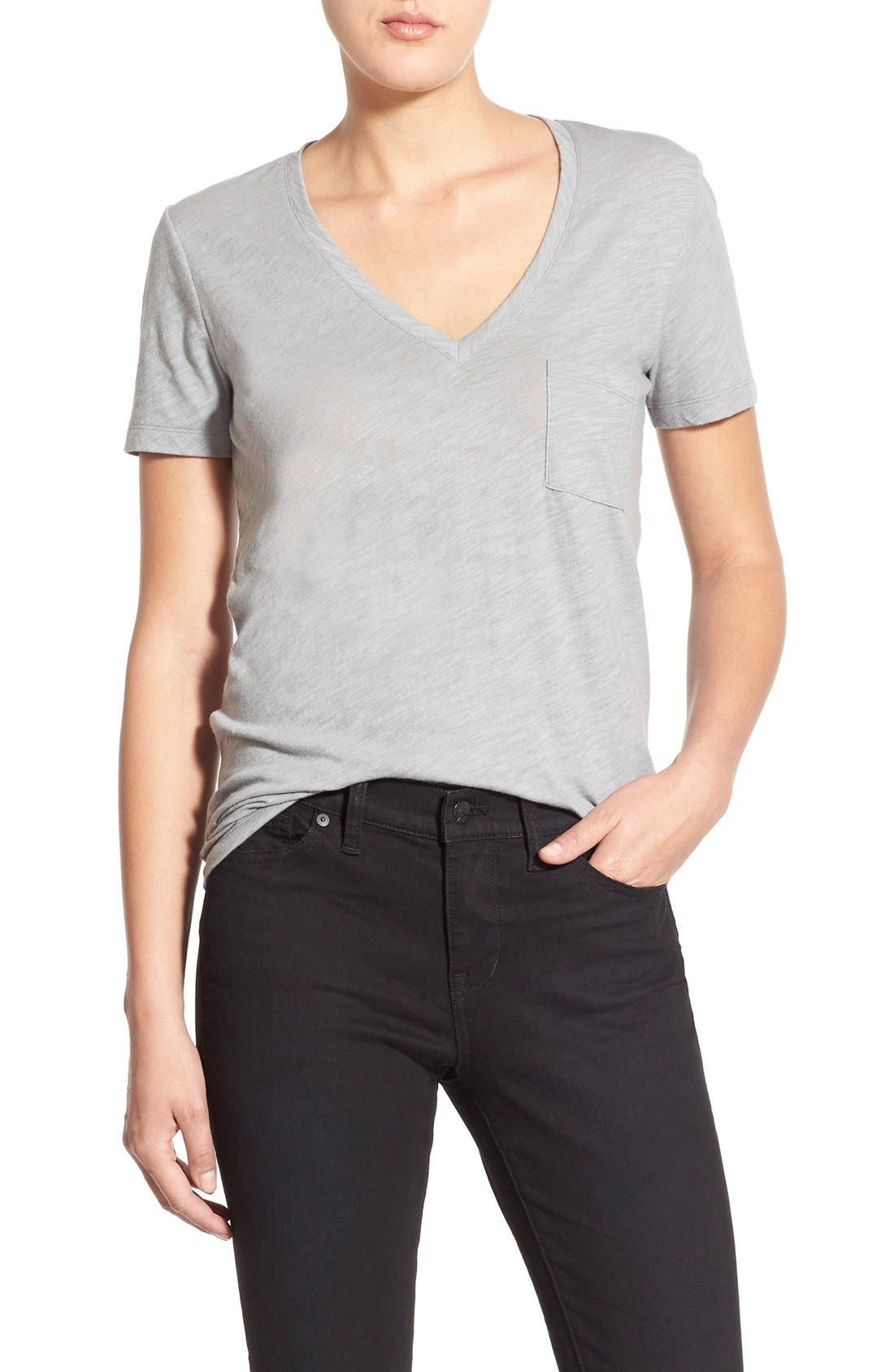 Whisper Cotton V-Neck Pocket Tee,                             Main thumbnail 8, color,