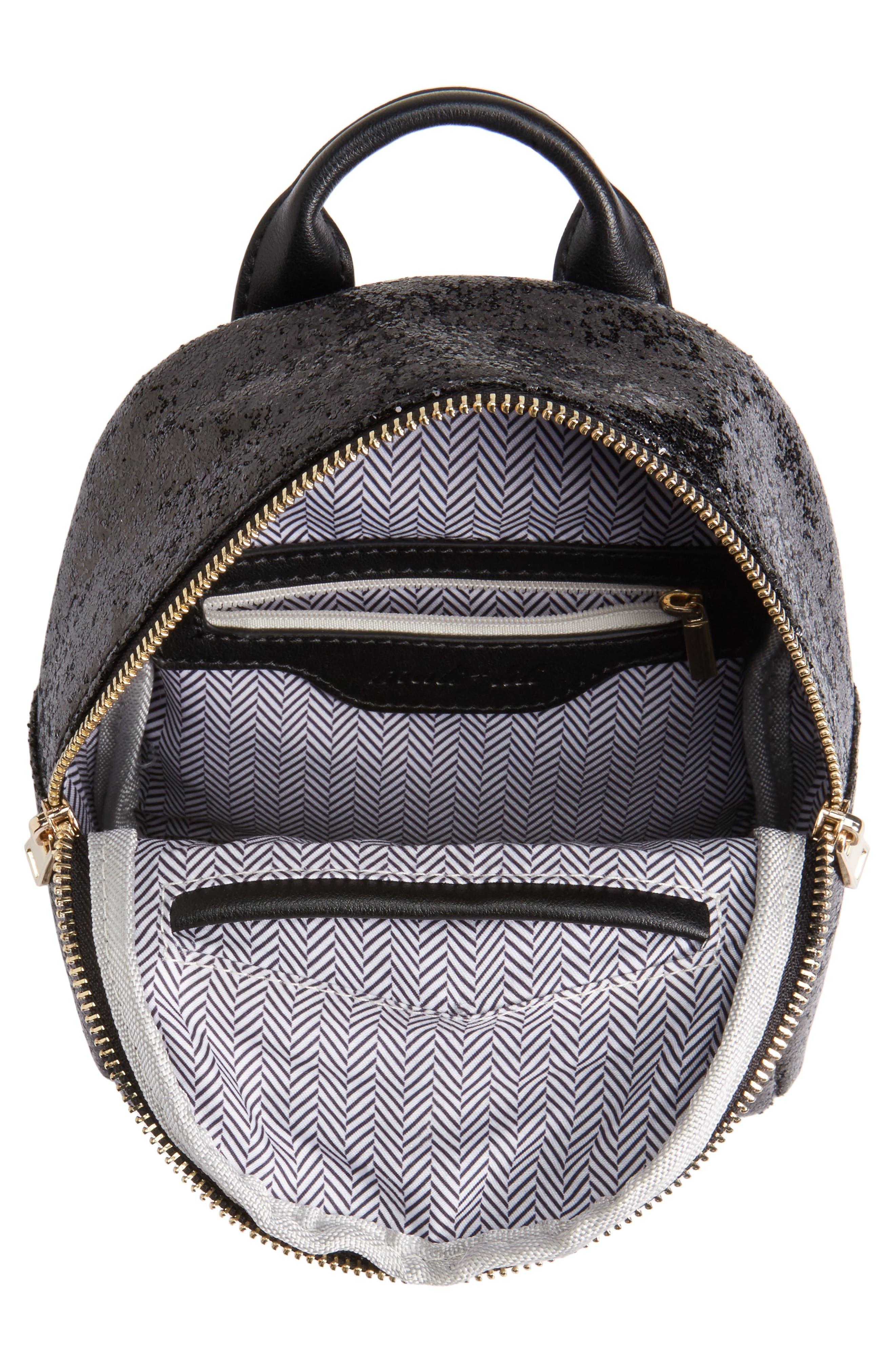 Mali + Lili Glitter Vegan Leather Backpack,                             Alternate thumbnail 4, color,                             BLACK