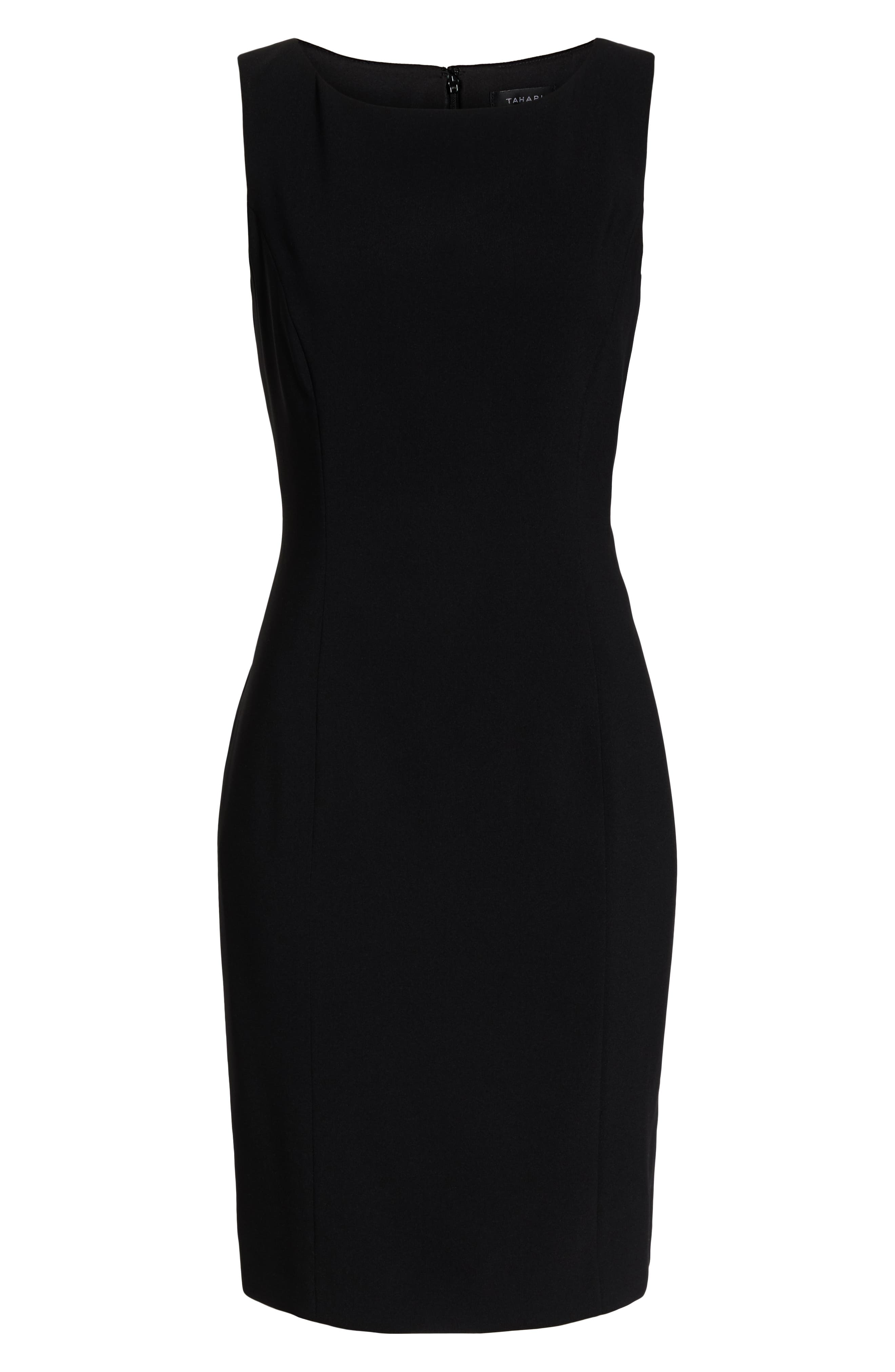 by Arthur S. Levine Crepe Sheath Dress,                             Alternate thumbnail 8, color,                             BLACK