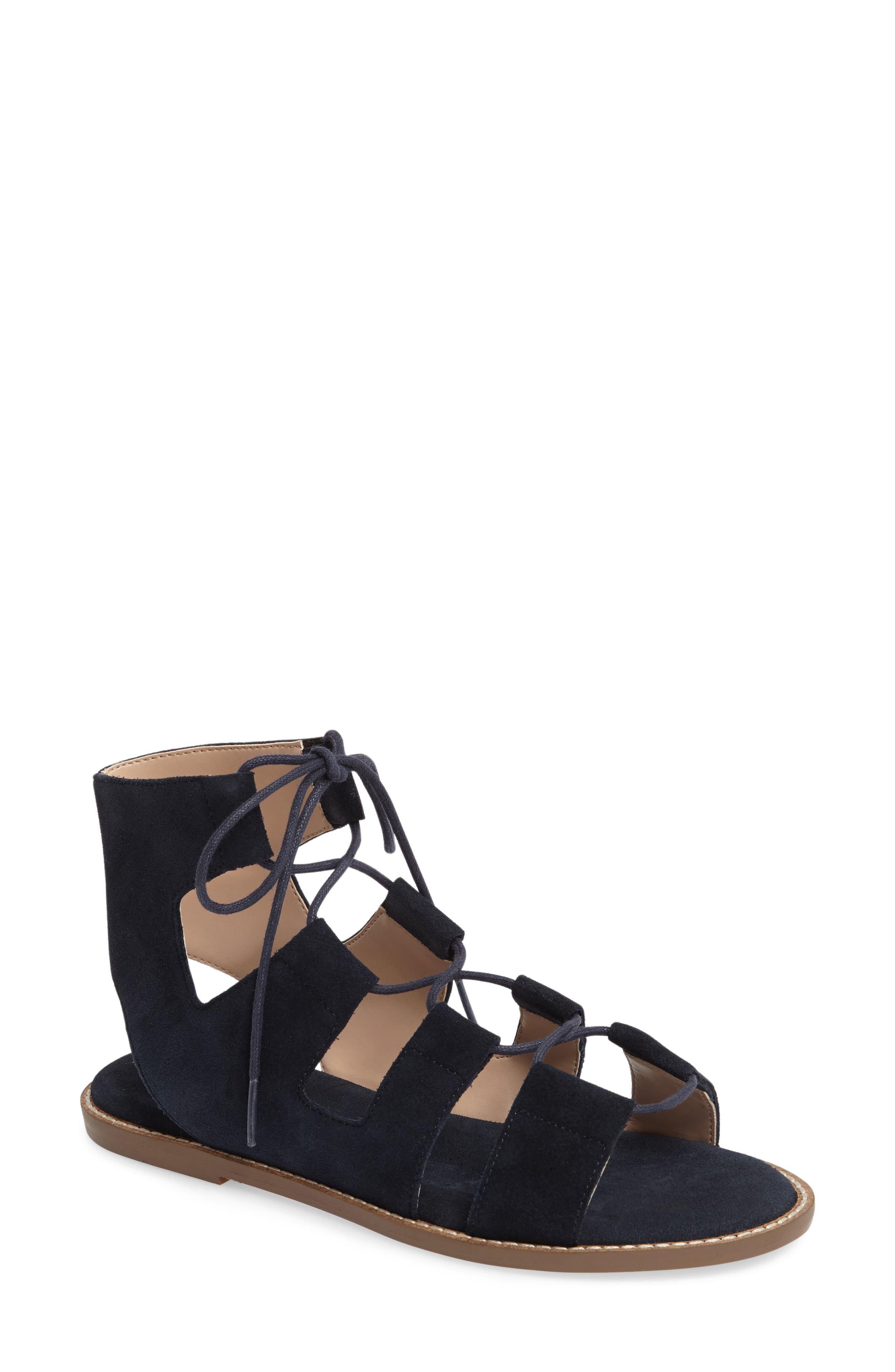 'Cady' Lace-Up Flat Sandal,                             Main thumbnail 4, color,