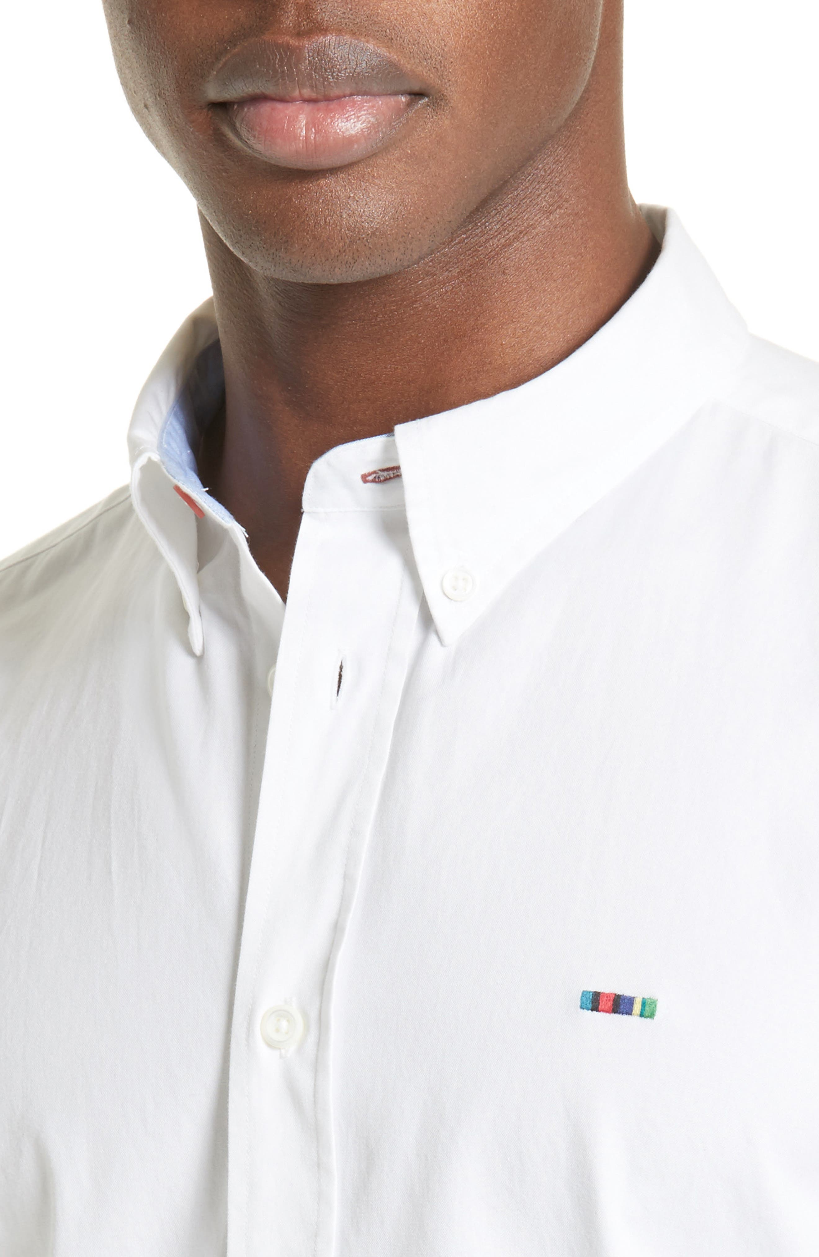 Extra Trim Fit Multi Tab Sport Shirt,                             Alternate thumbnail 5, color,                             100