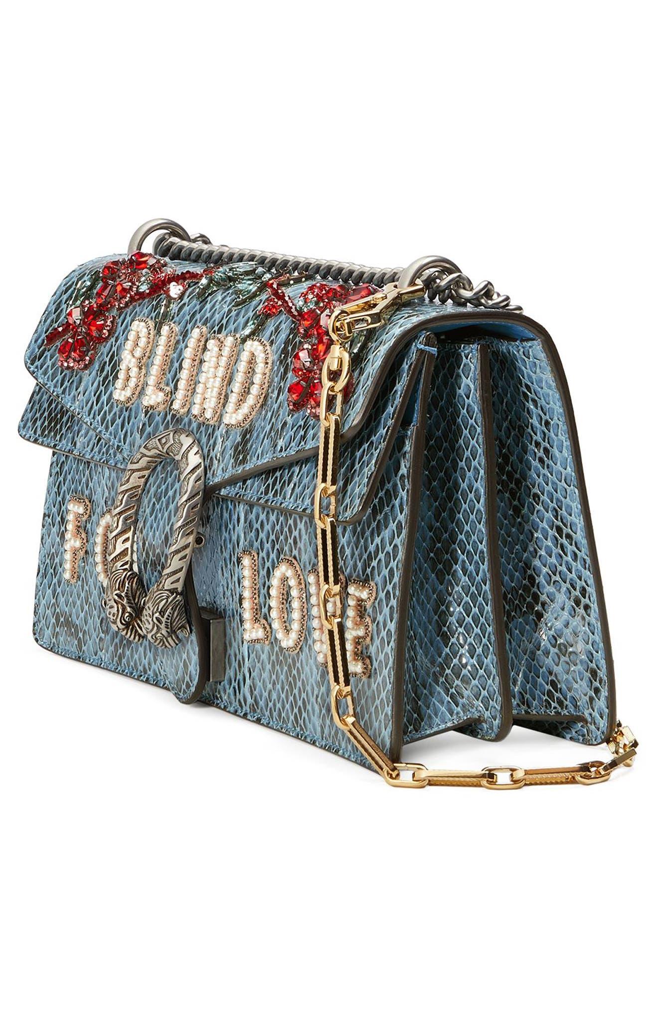 GUCCI,                             Dionysus Blind for Love Genuine Snakeskin Shoulder Bag,                             Alternate thumbnail 4, color,                             493