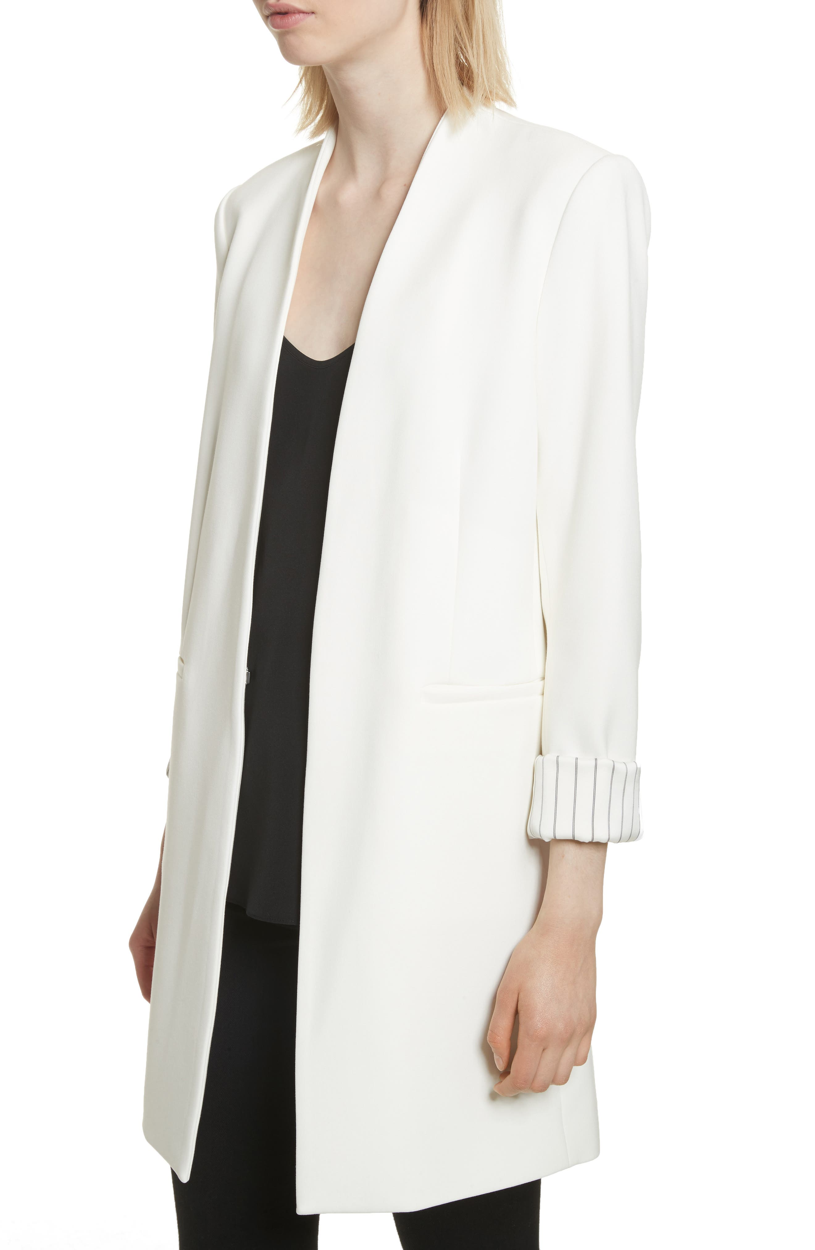 Simpson Roll Cuff Collarless Blazer,                             Alternate thumbnail 4, color,                             100