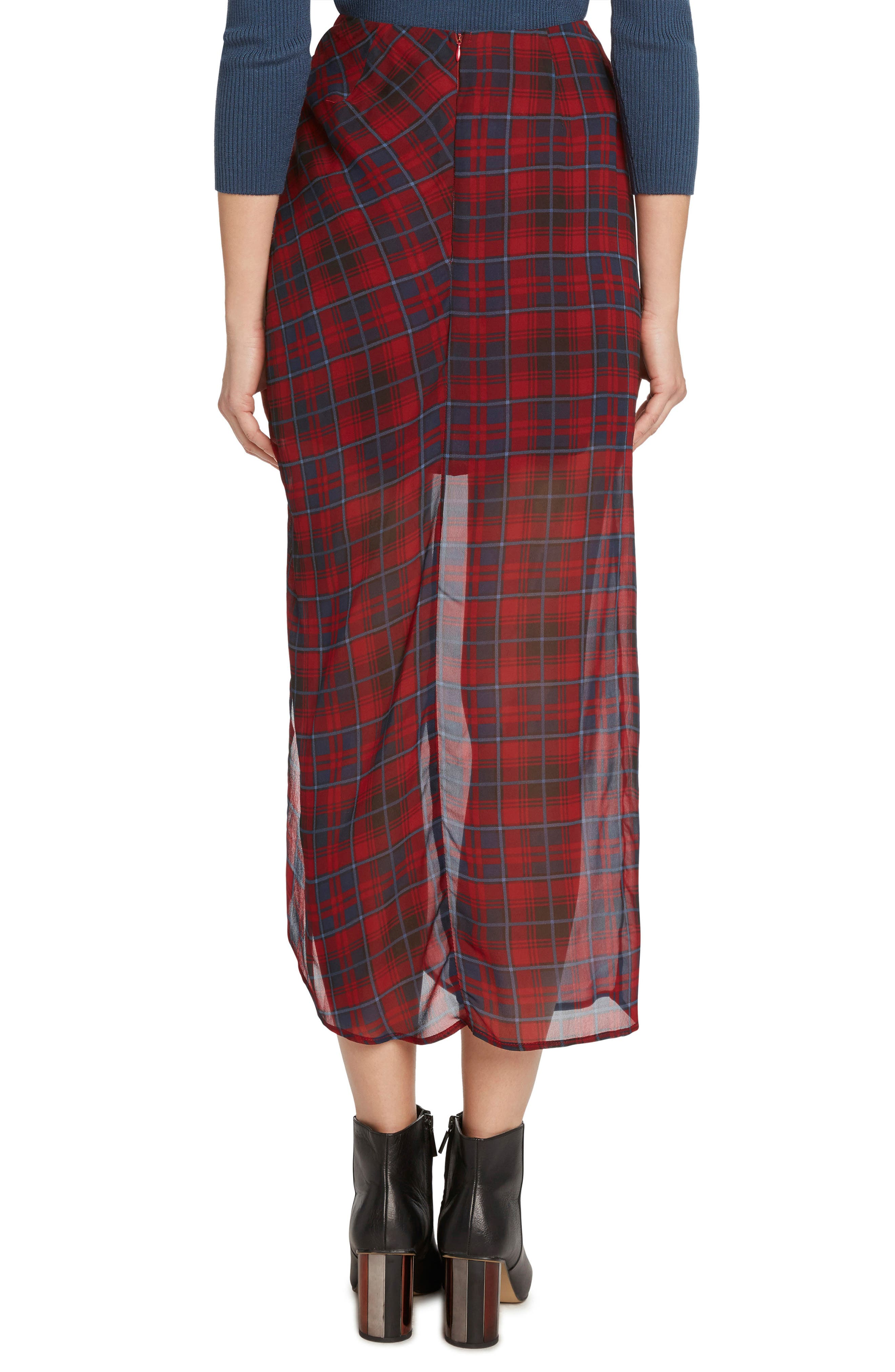 Plaid Ruched Skirt,                             Alternate thumbnail 3, color,                             930