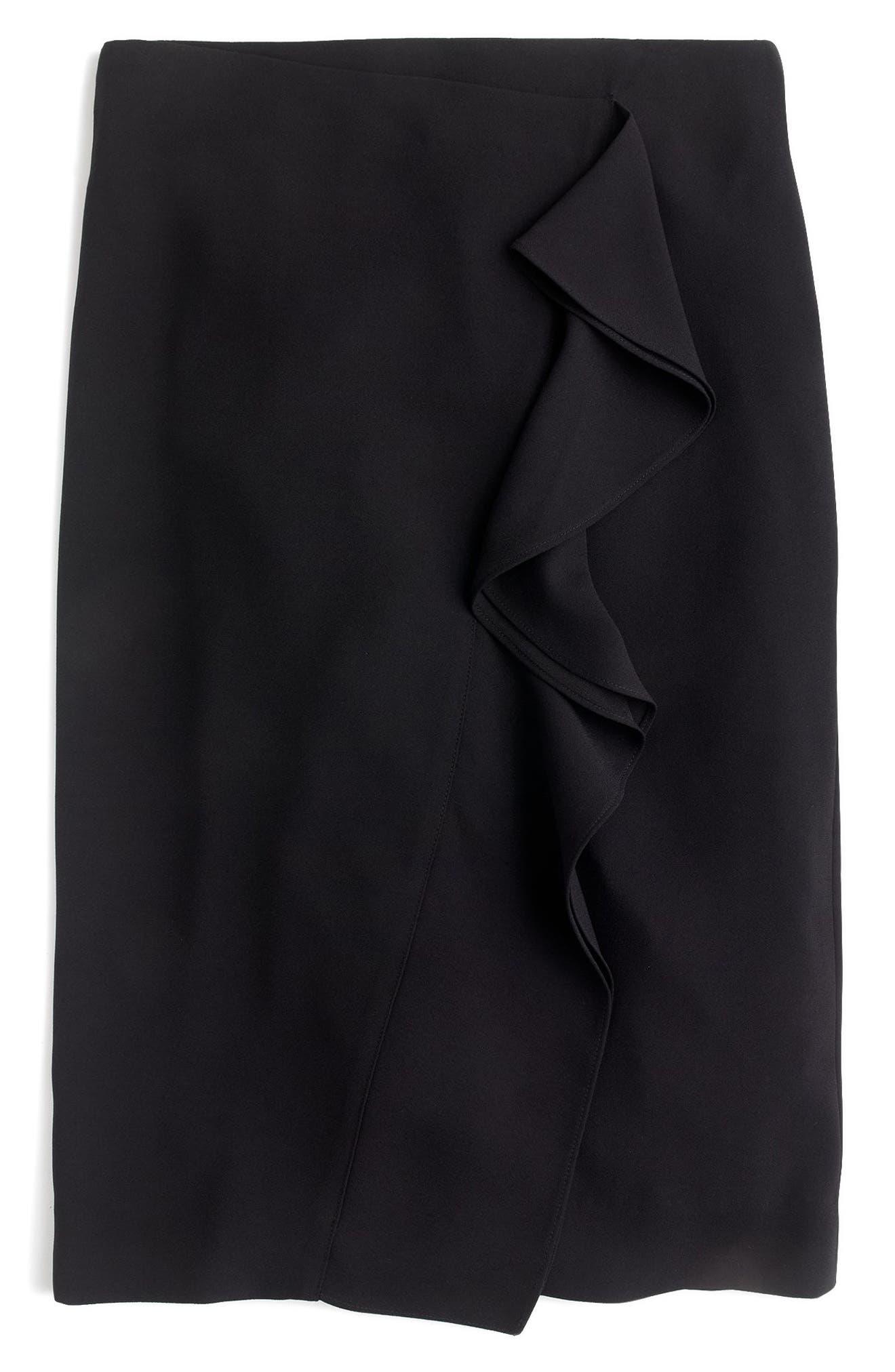 365 Crepe Ruffle Pencil Skirt,                             Main thumbnail 1, color,                             001