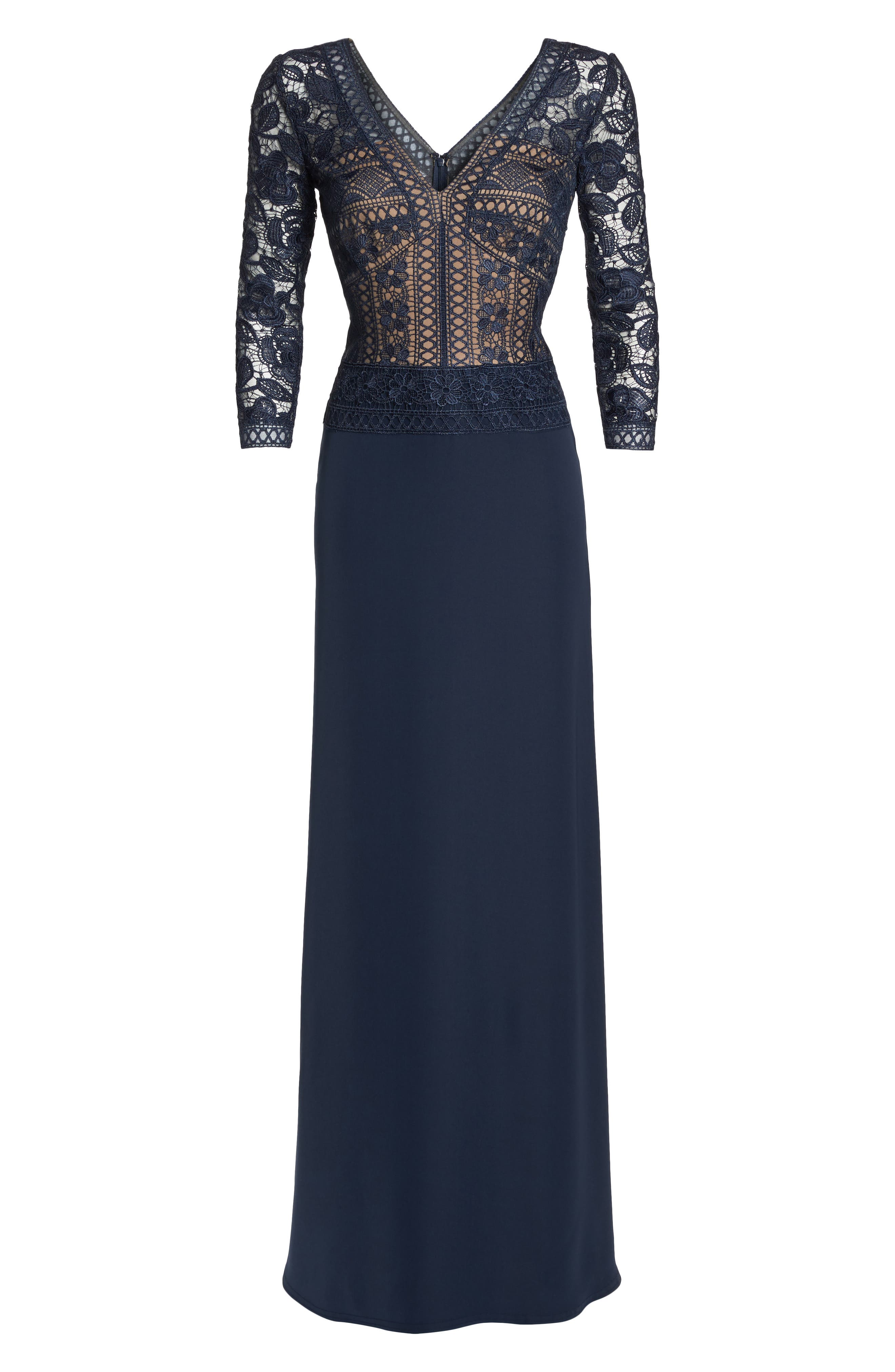 Lace & Crepe A-Line Gown,                             Alternate thumbnail 7, color,                             NAVY/ NUDE