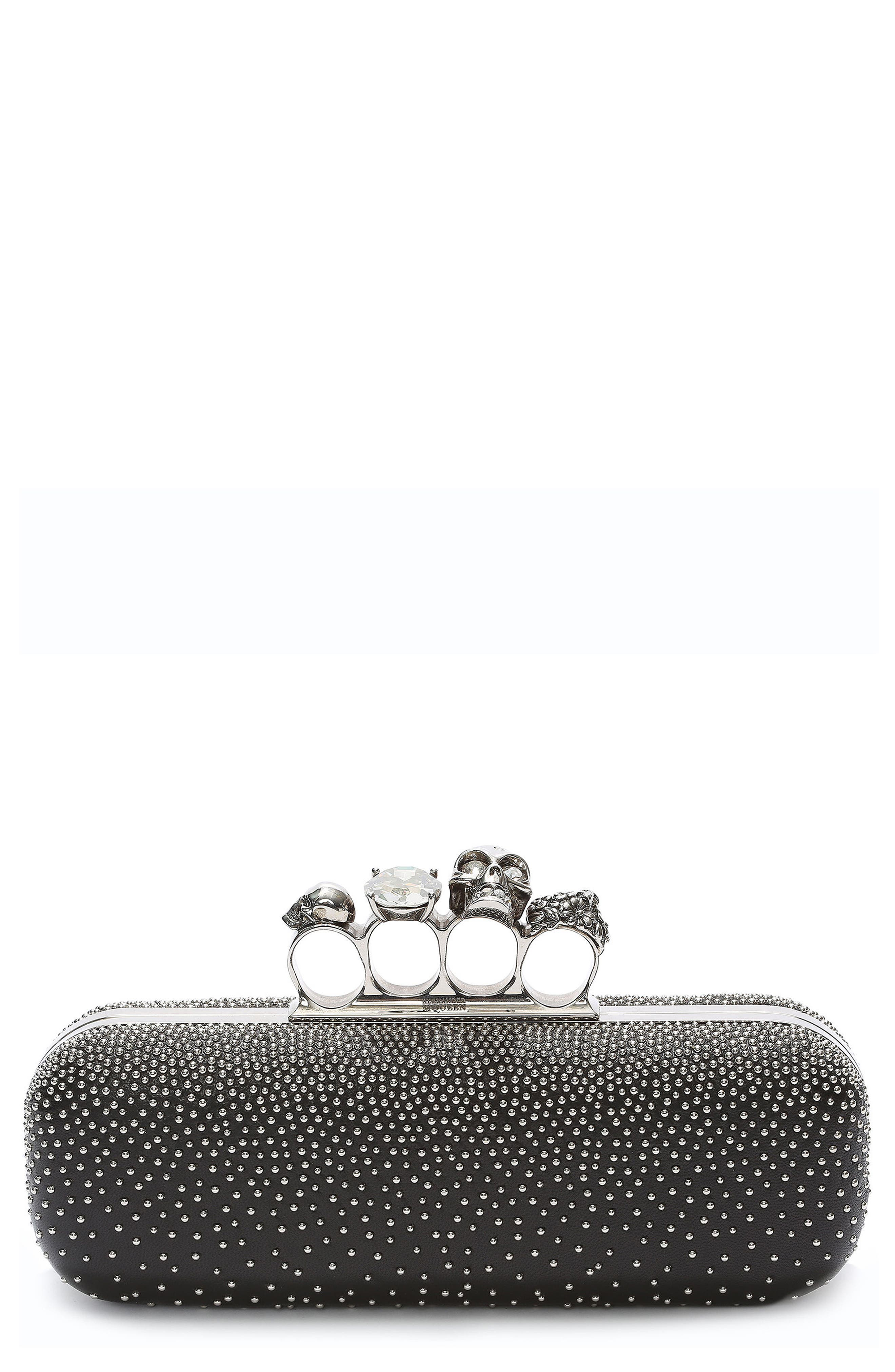 Studded Lambskin Leather Knuckle Clutch,                             Main thumbnail 1, color,                             BLACK