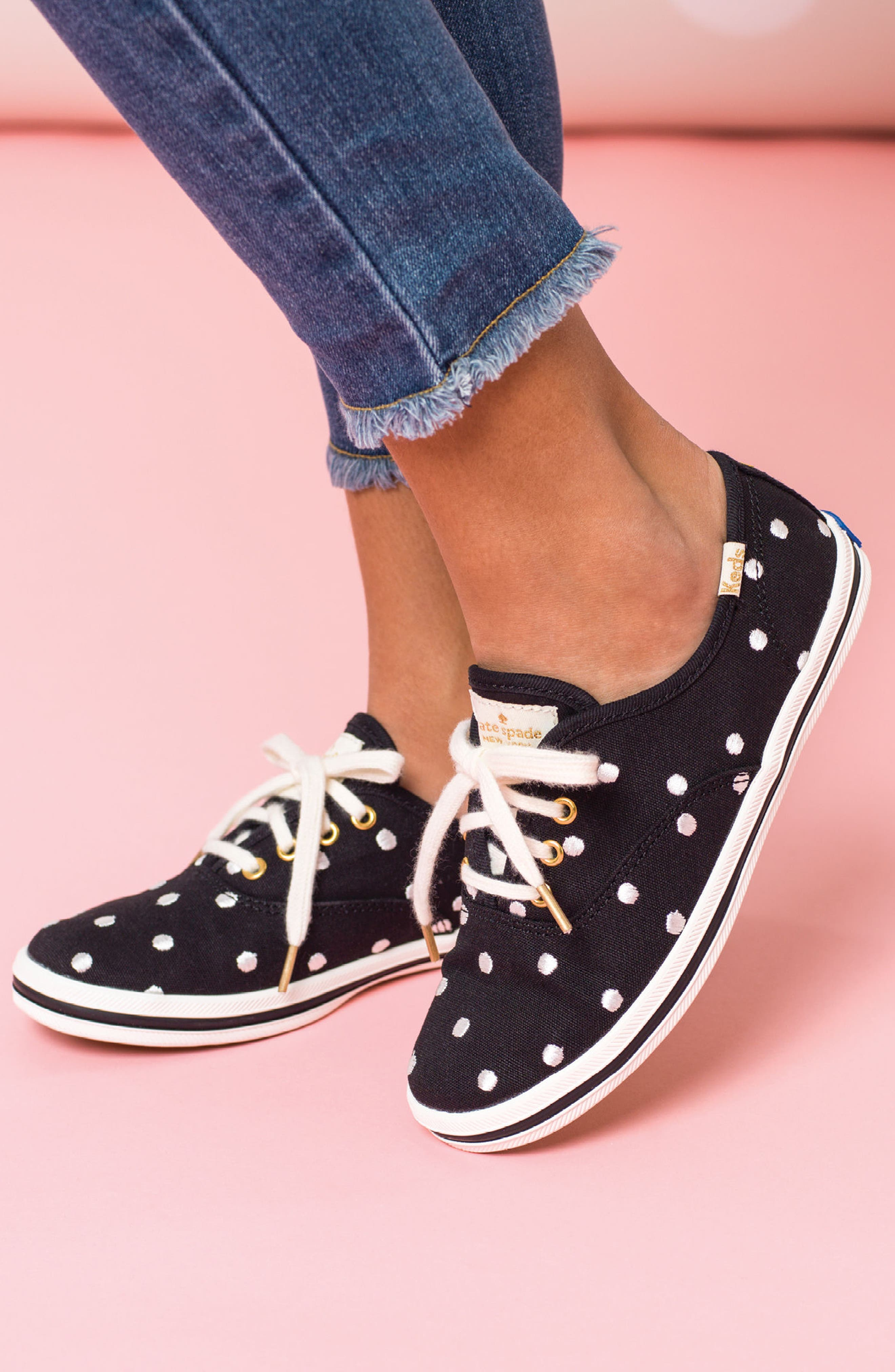 x kate spade new york champion polka dot lace-up shoe,                             Alternate thumbnail 8, color,                             BLACK DANCING DOT