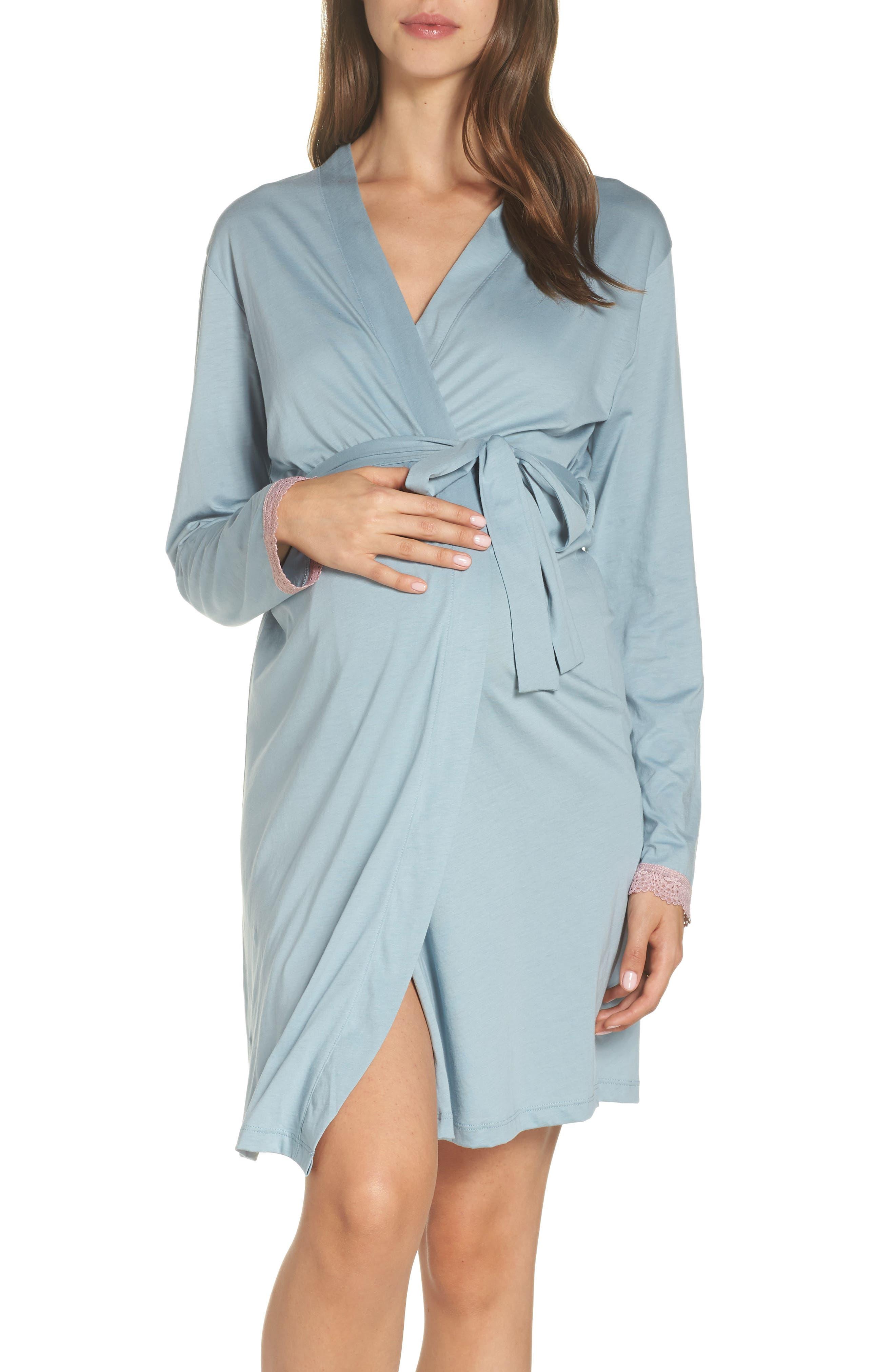 Maternity/Nursing Robe,                             Main thumbnail 1, color,                             ROBINS EGG BLUE