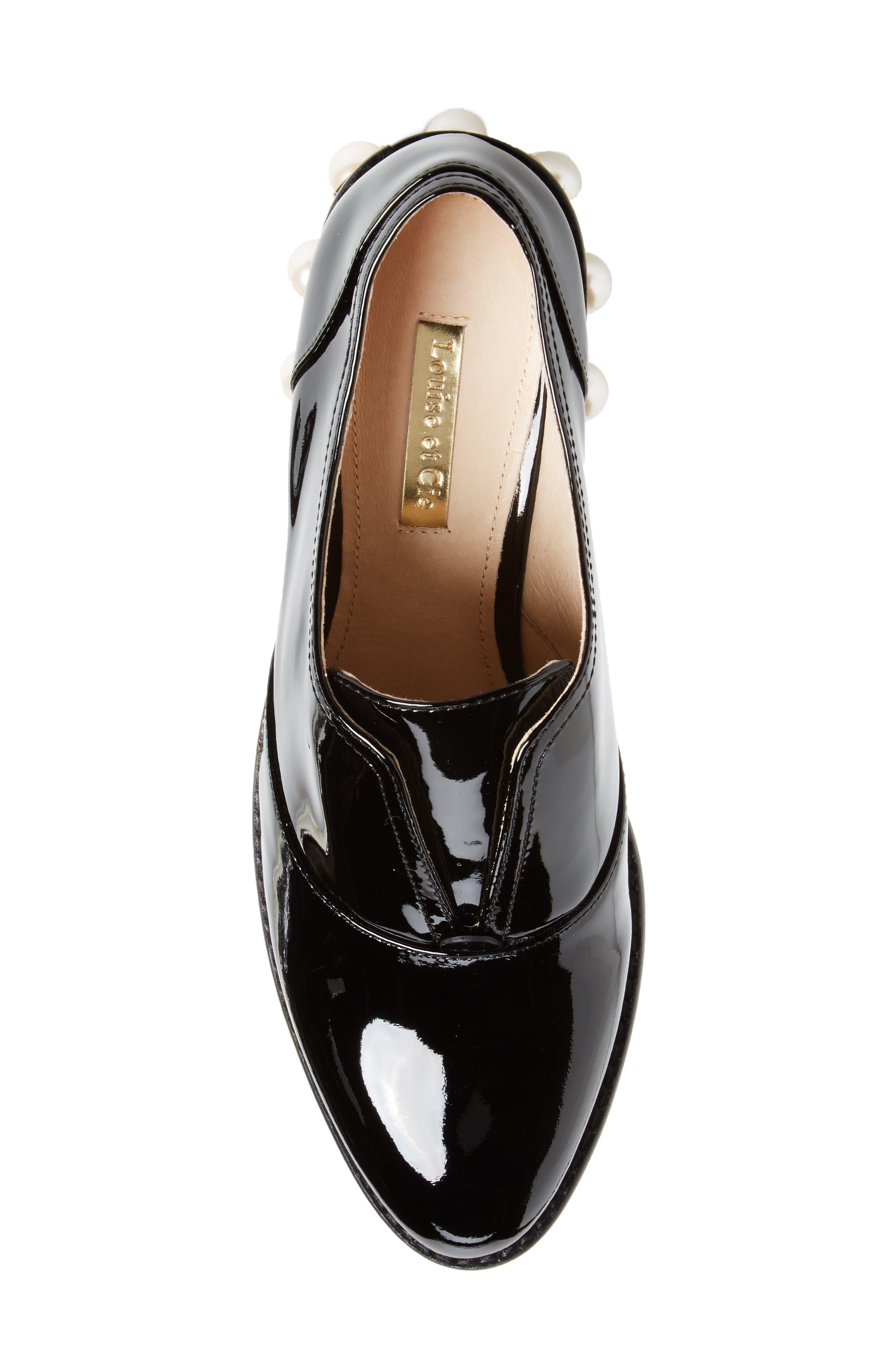 Franley Embellished Heel Oxford,                             Alternate thumbnail 5, color,                             001