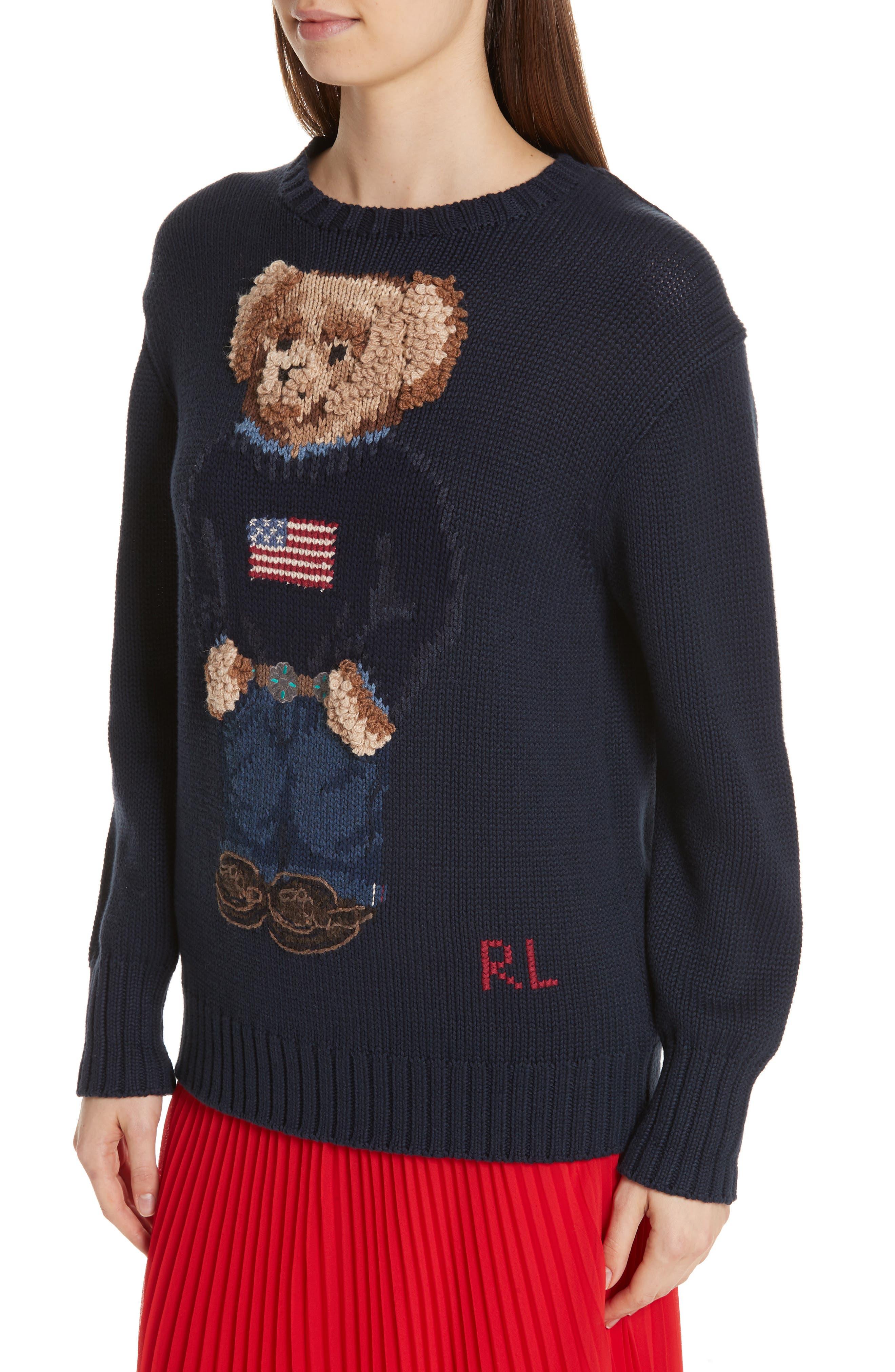 Bear Sweater,                             Alternate thumbnail 4, color,                             NAVY MULTI
